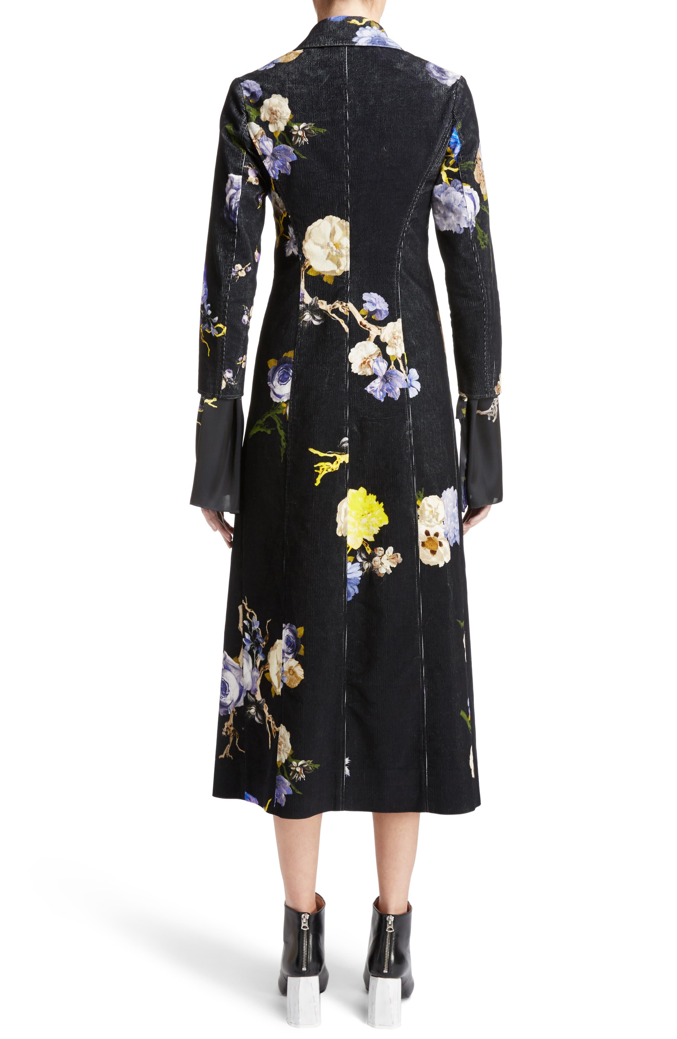 Okki Floral Print Bracelet Sleeve Coat,                             Alternate thumbnail 2, color,                             Big Flower Black