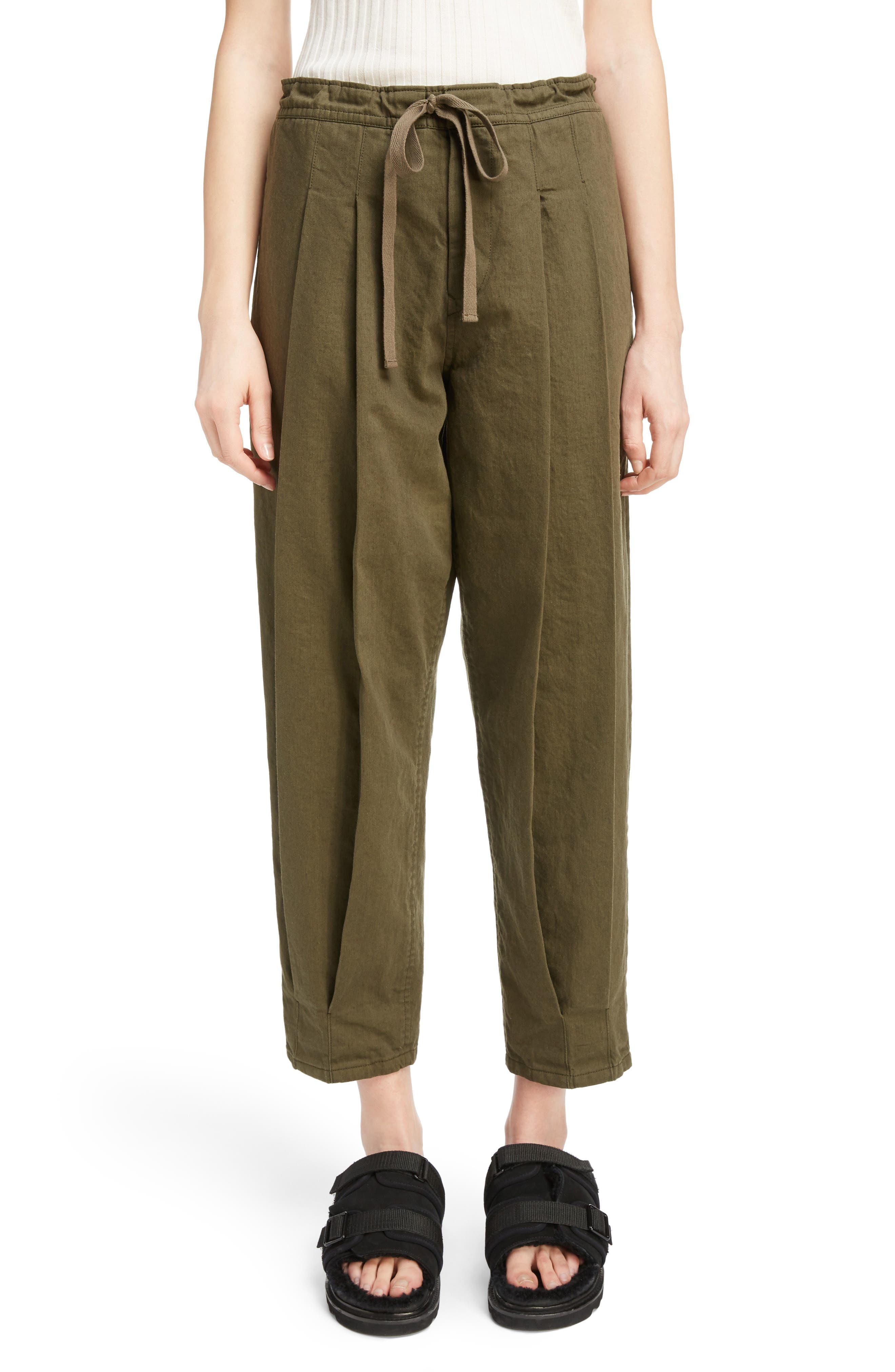 Y's by Yohji Yamamoto Dart Front Drawstring Pants