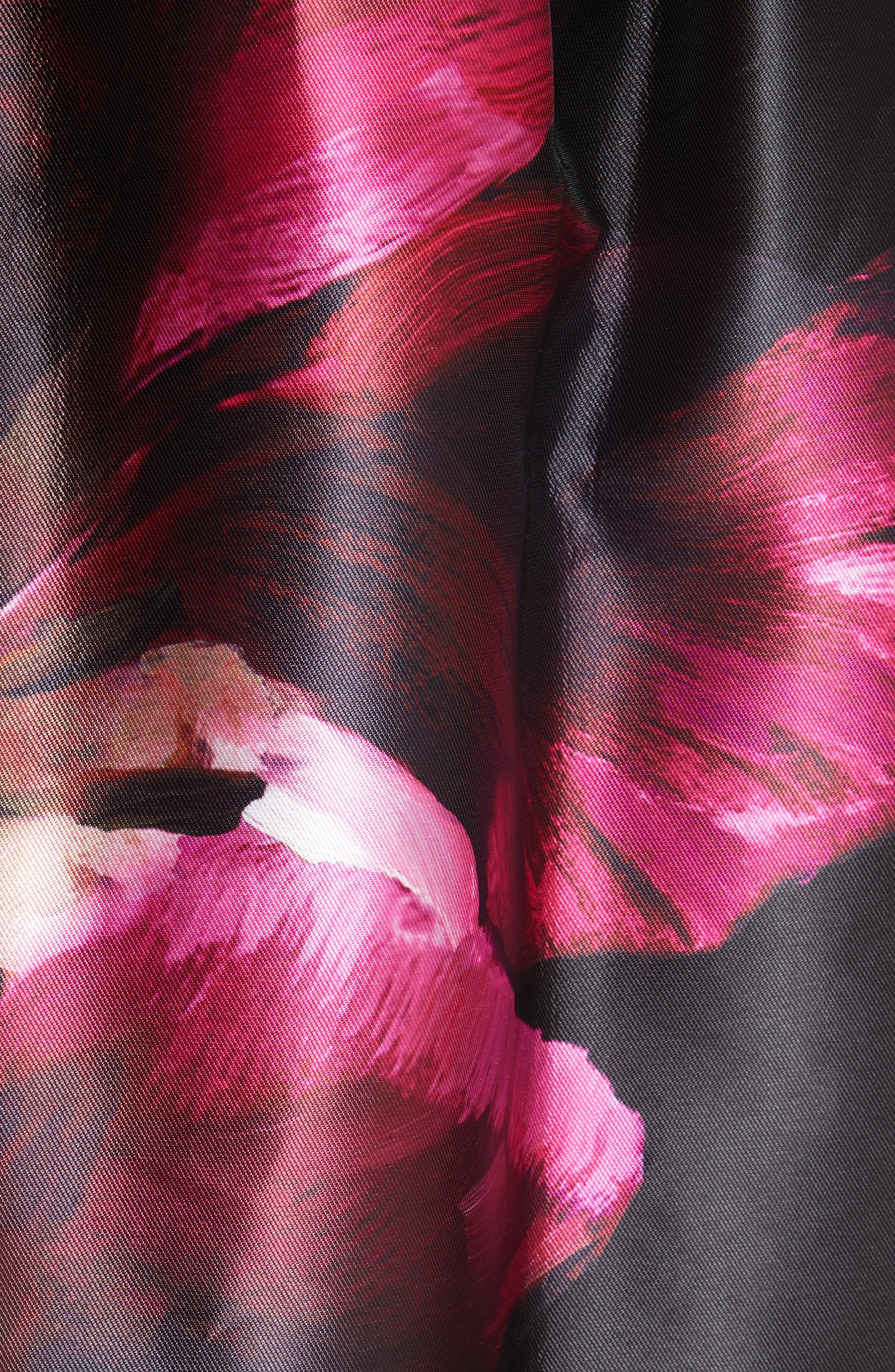 Nuala Impressionist Bloom Print Full Skirt,                             Alternate thumbnail 5, color,                             Black