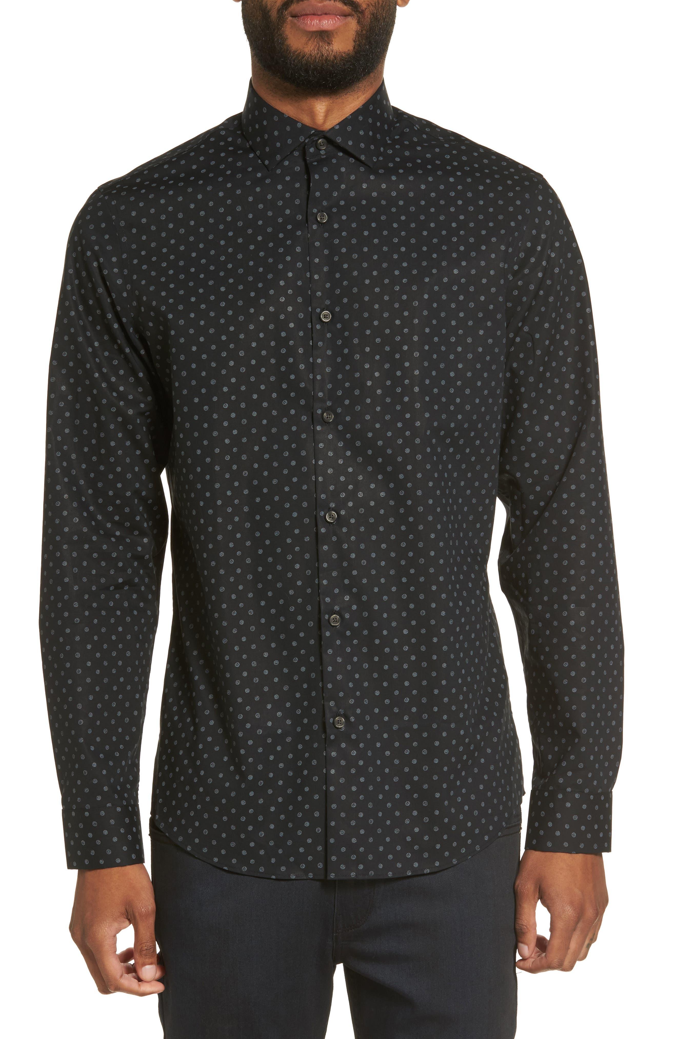Dot Print Sport Shirt,                             Main thumbnail 1, color,                             Black Caviar Grey Dot Print
