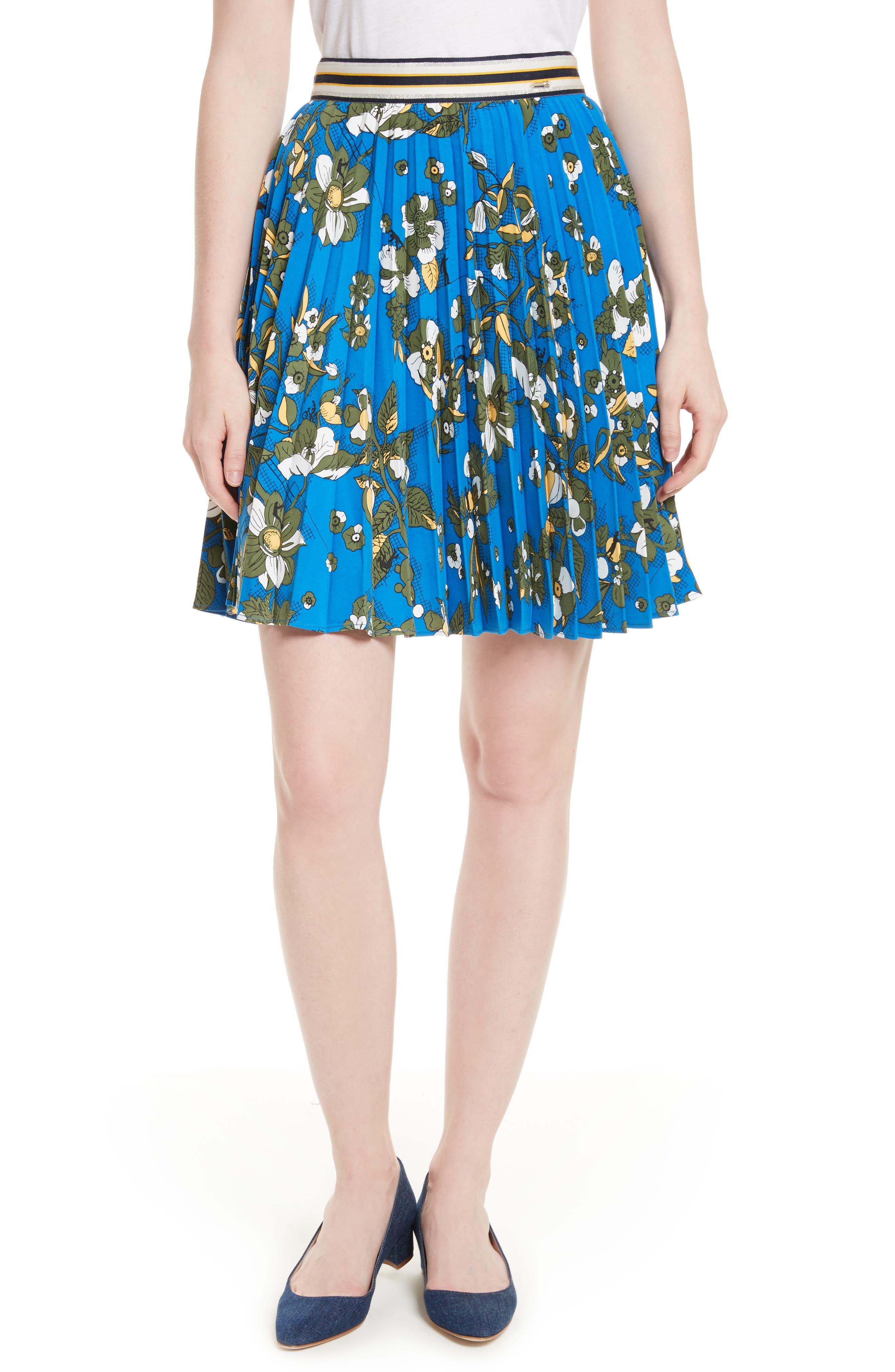Ted Baker London Zakai Flower Print Pleated Skirt