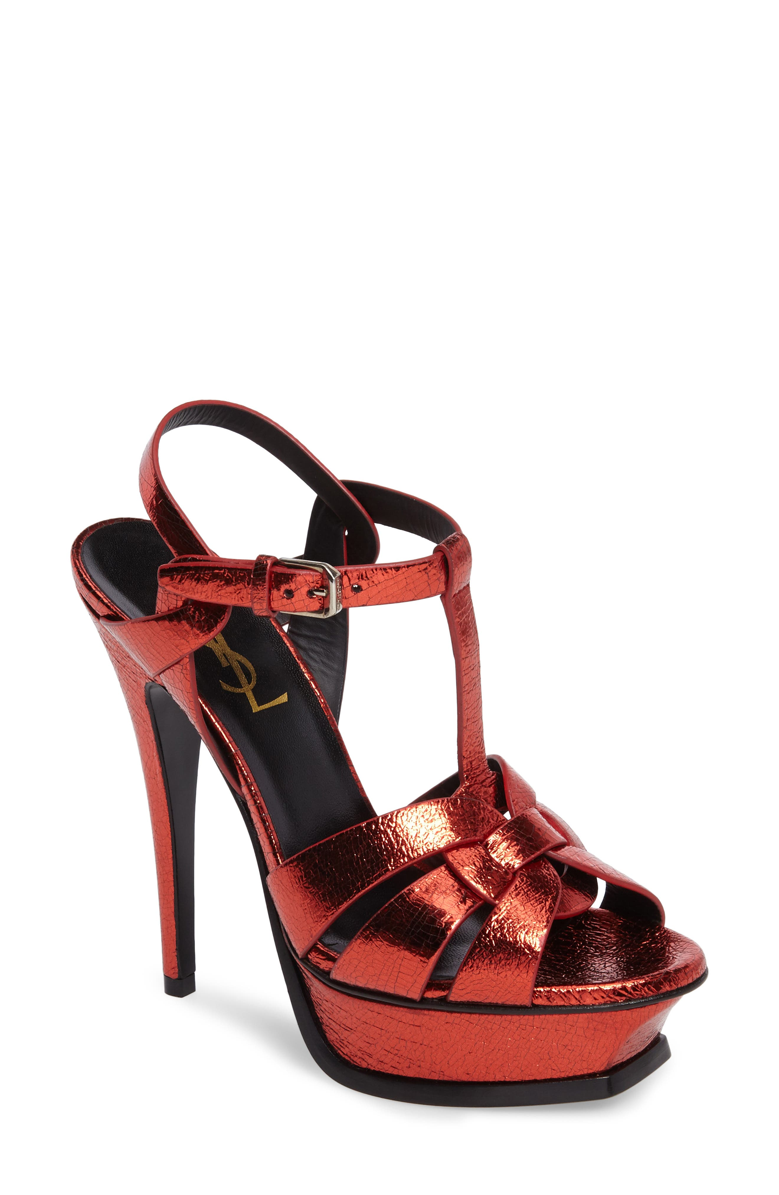 Main Image - Saint Laurent Tribute Metallic Platform Sandal (Women)