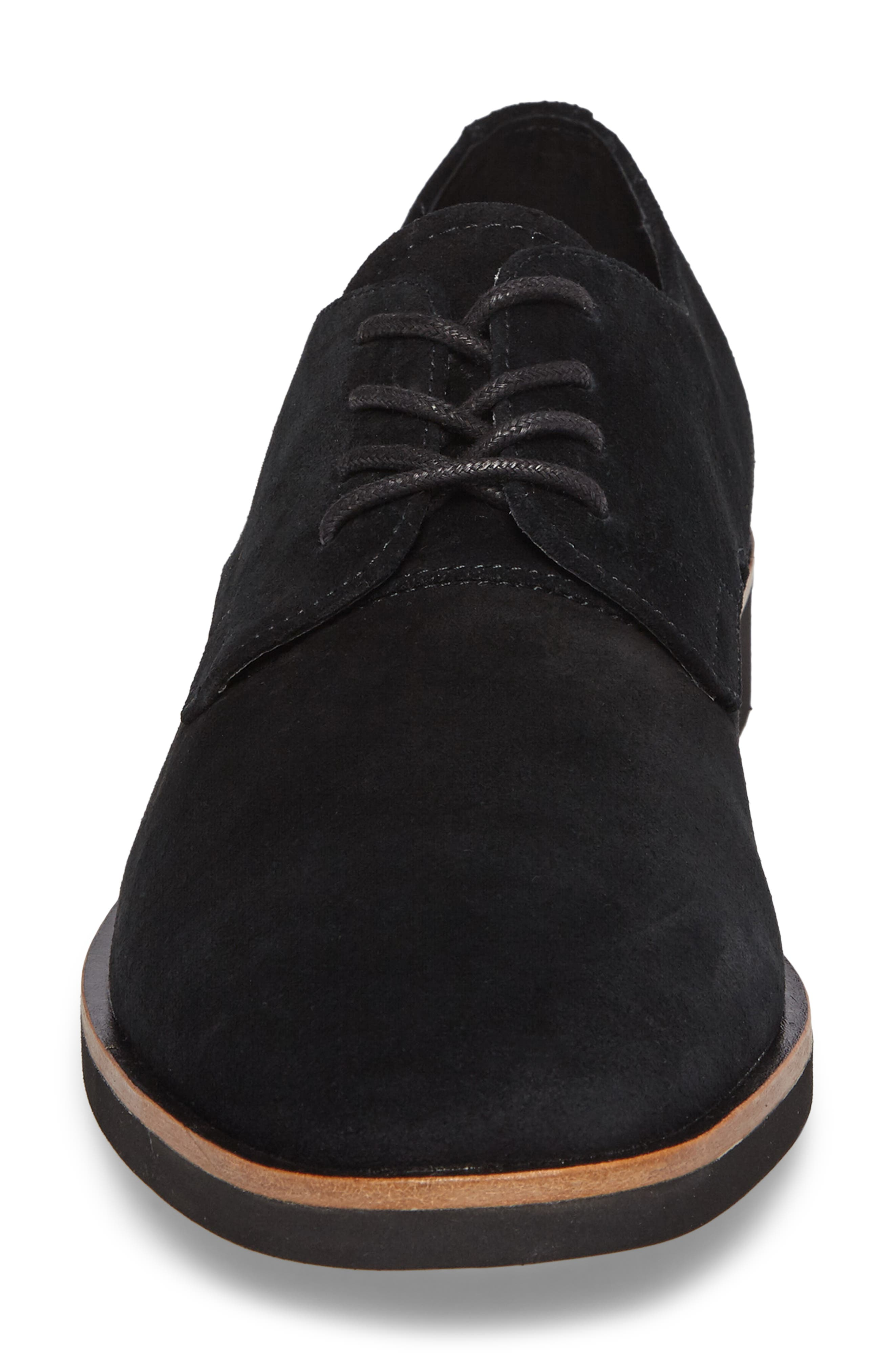 Faustino Plain Toe Derby,                             Alternate thumbnail 4, color,                             Black Suede
