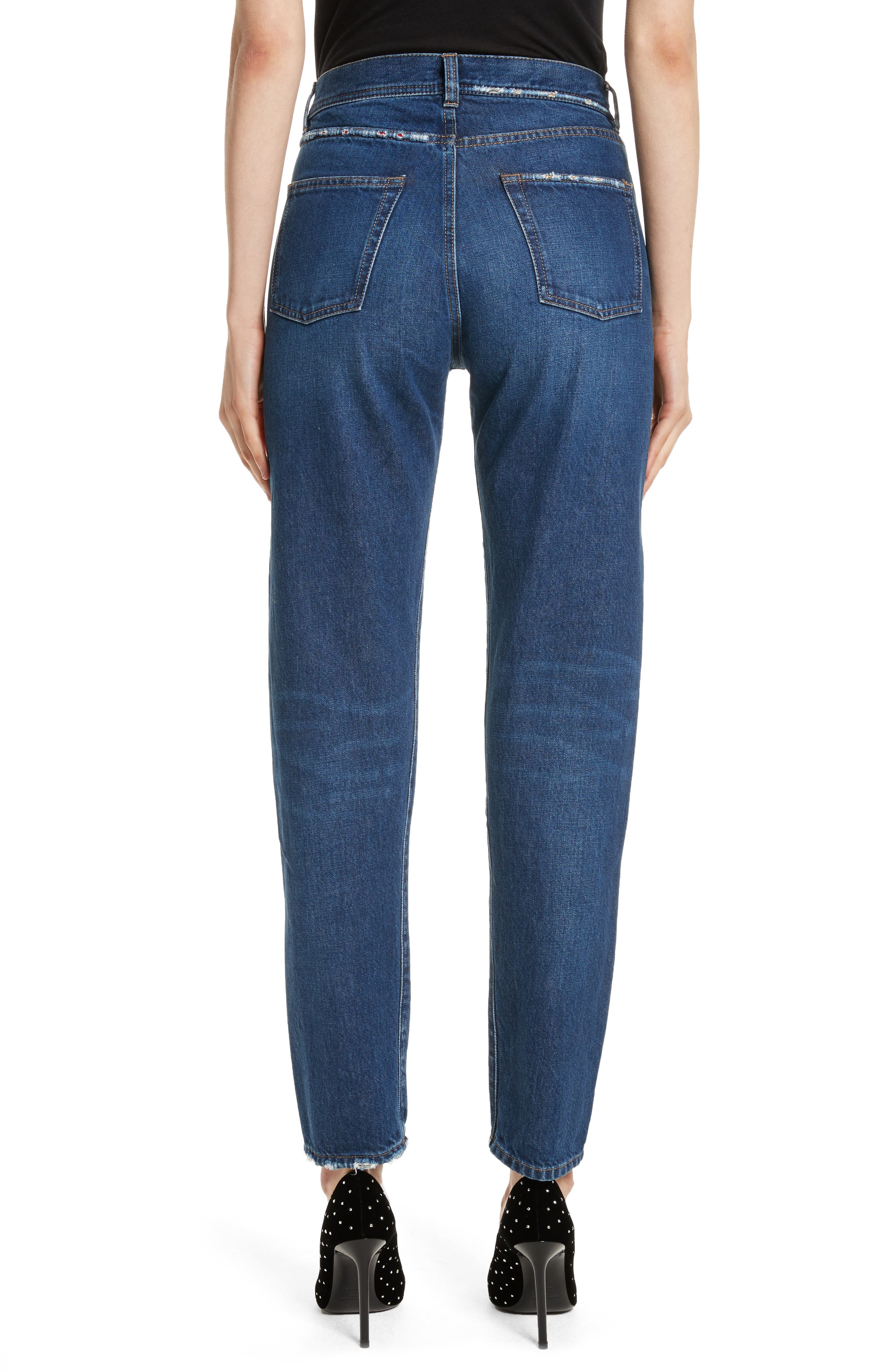 Alternate Image 2  - Saint Laurent Embroidered Jeans (Deep Dark Blue)