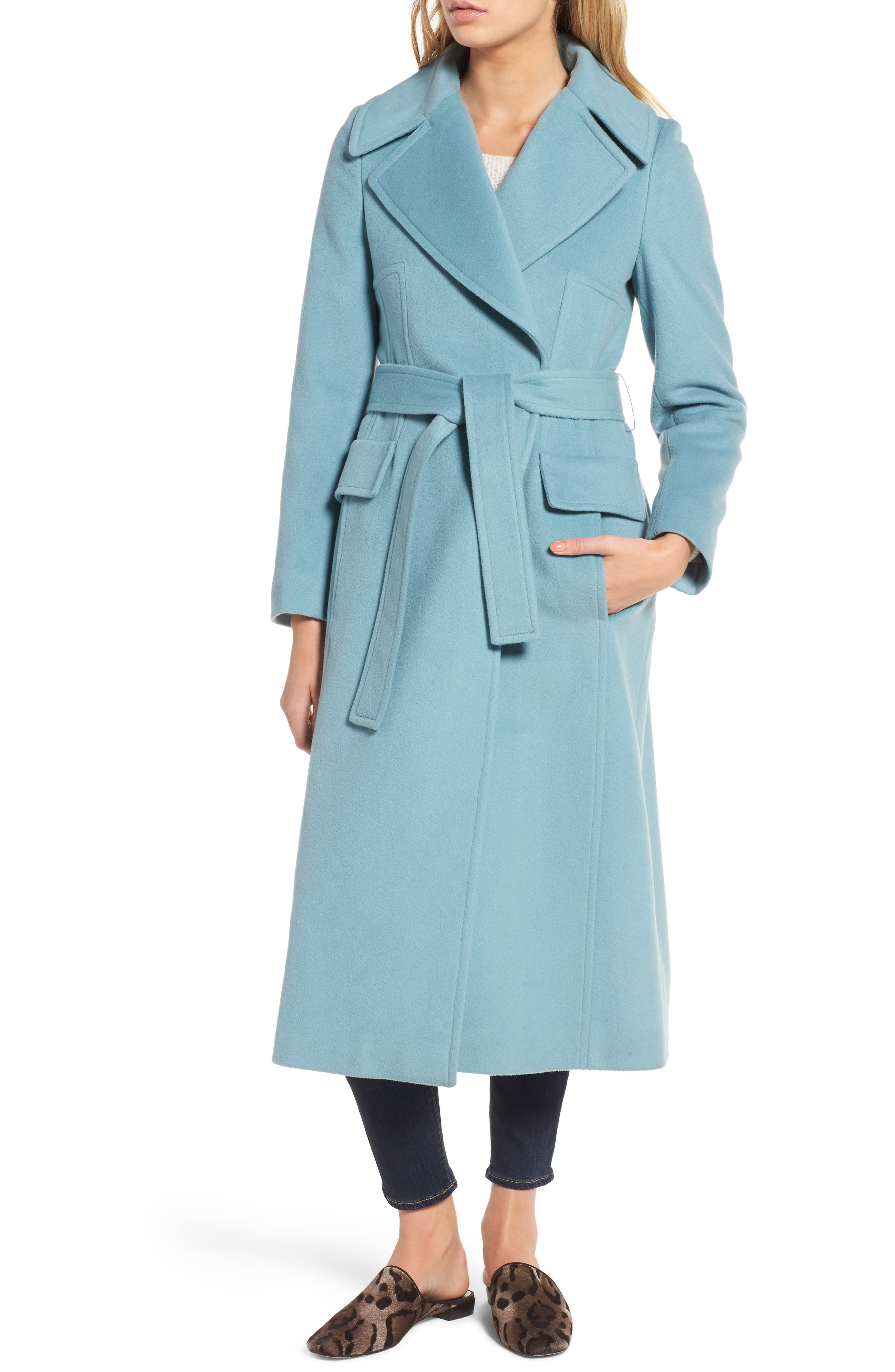 Wool Blend Coat with Removable Genuine Fox Fur Collar,                             Alternate thumbnail 5, color,                             Light Blue