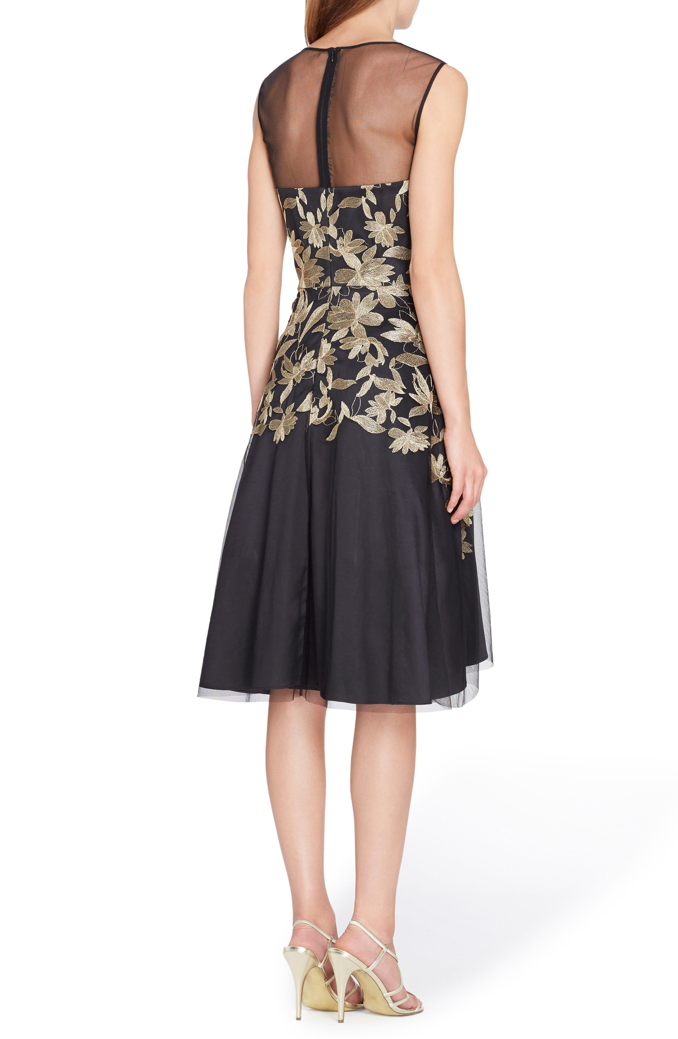 Embroidered Fit & Flare Dress,                             Alternate thumbnail 2, color,                             Black/ Gold