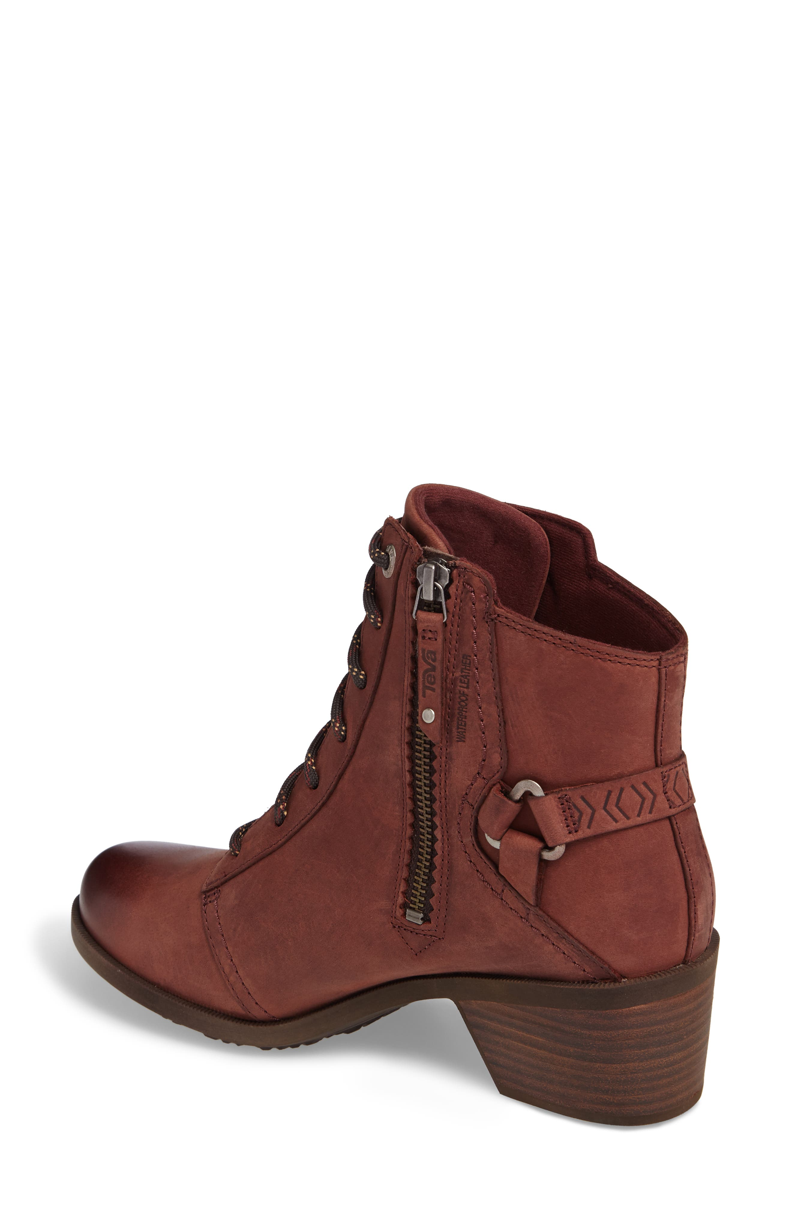Foxy Lace-Up Waterproof Boot,                             Alternate thumbnail 2, color,                             Redwood Leather