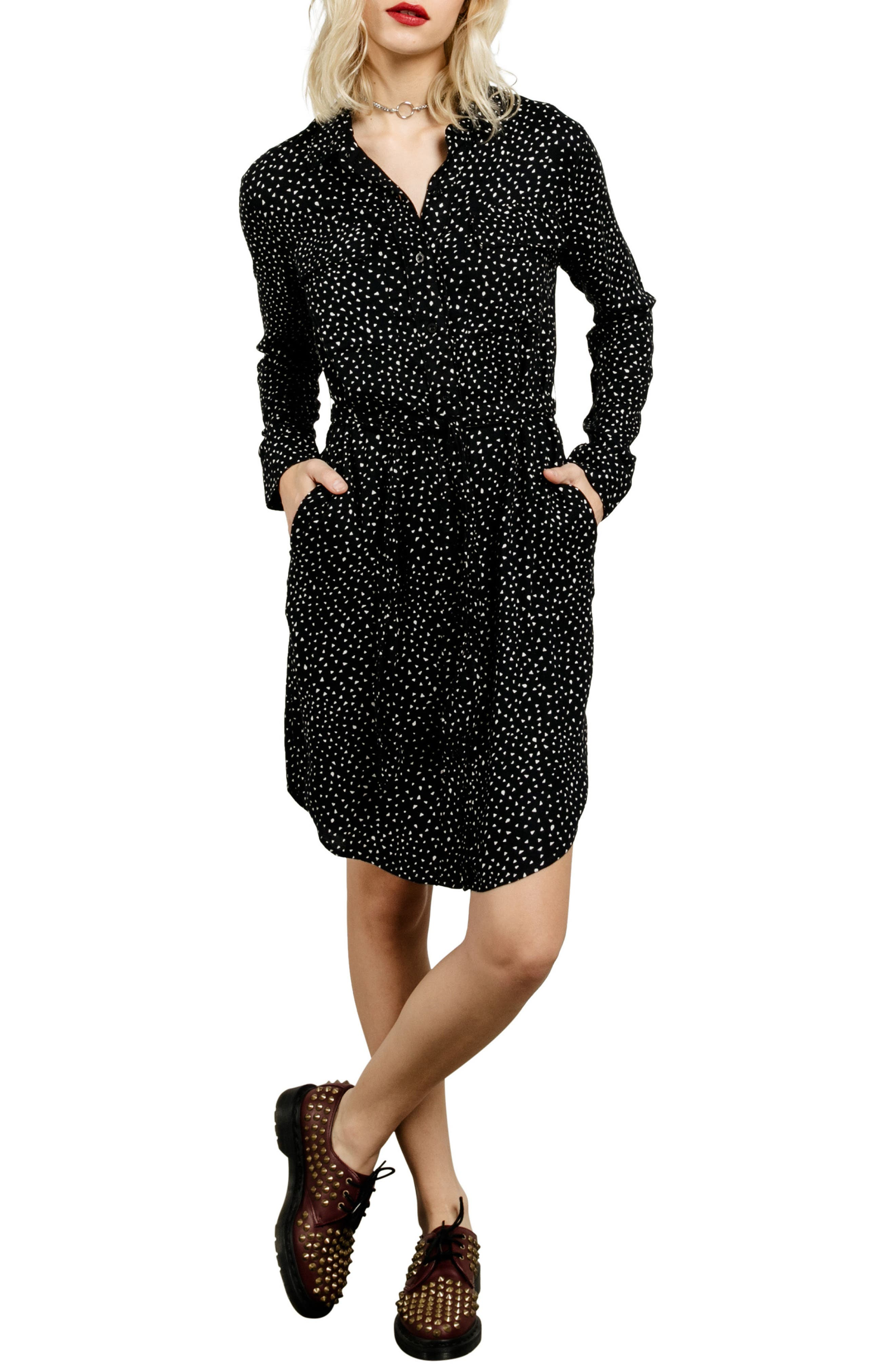 Volcoom Throwin Down Print Shirtdress,                             Main thumbnail 1, color,                             Black