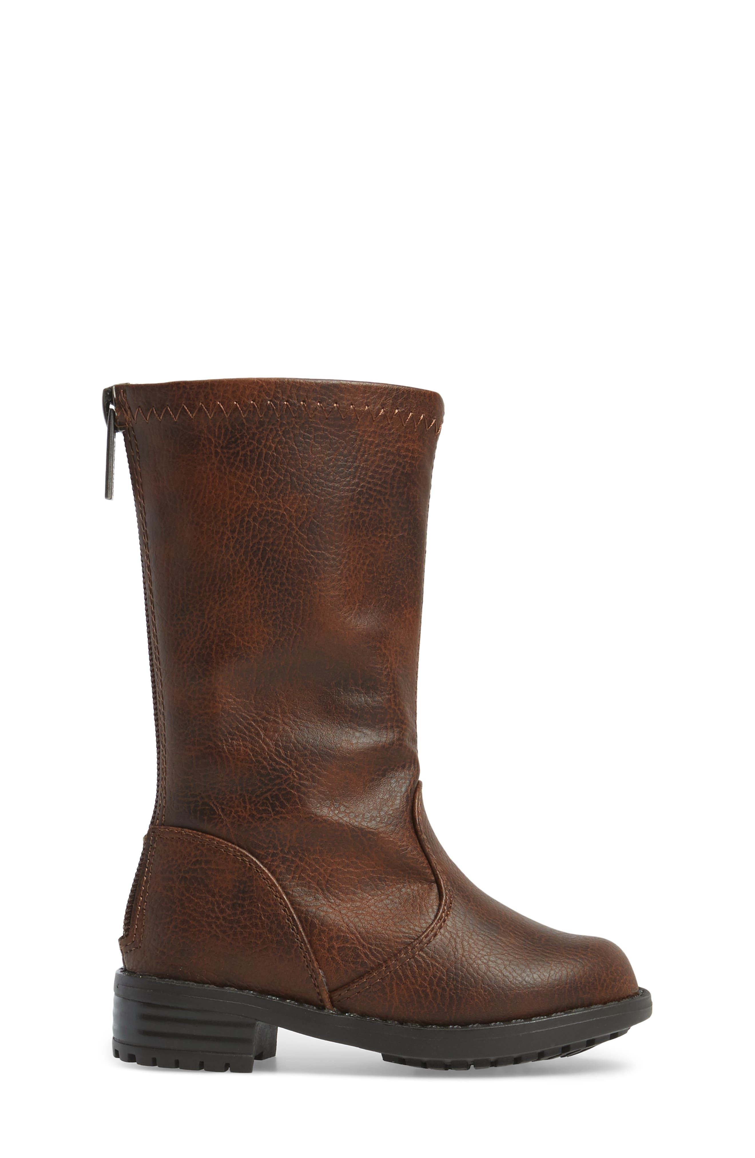 Autumn Stretch Boot,                             Alternate thumbnail 3, color,                             Distressed Brown Faux Leather