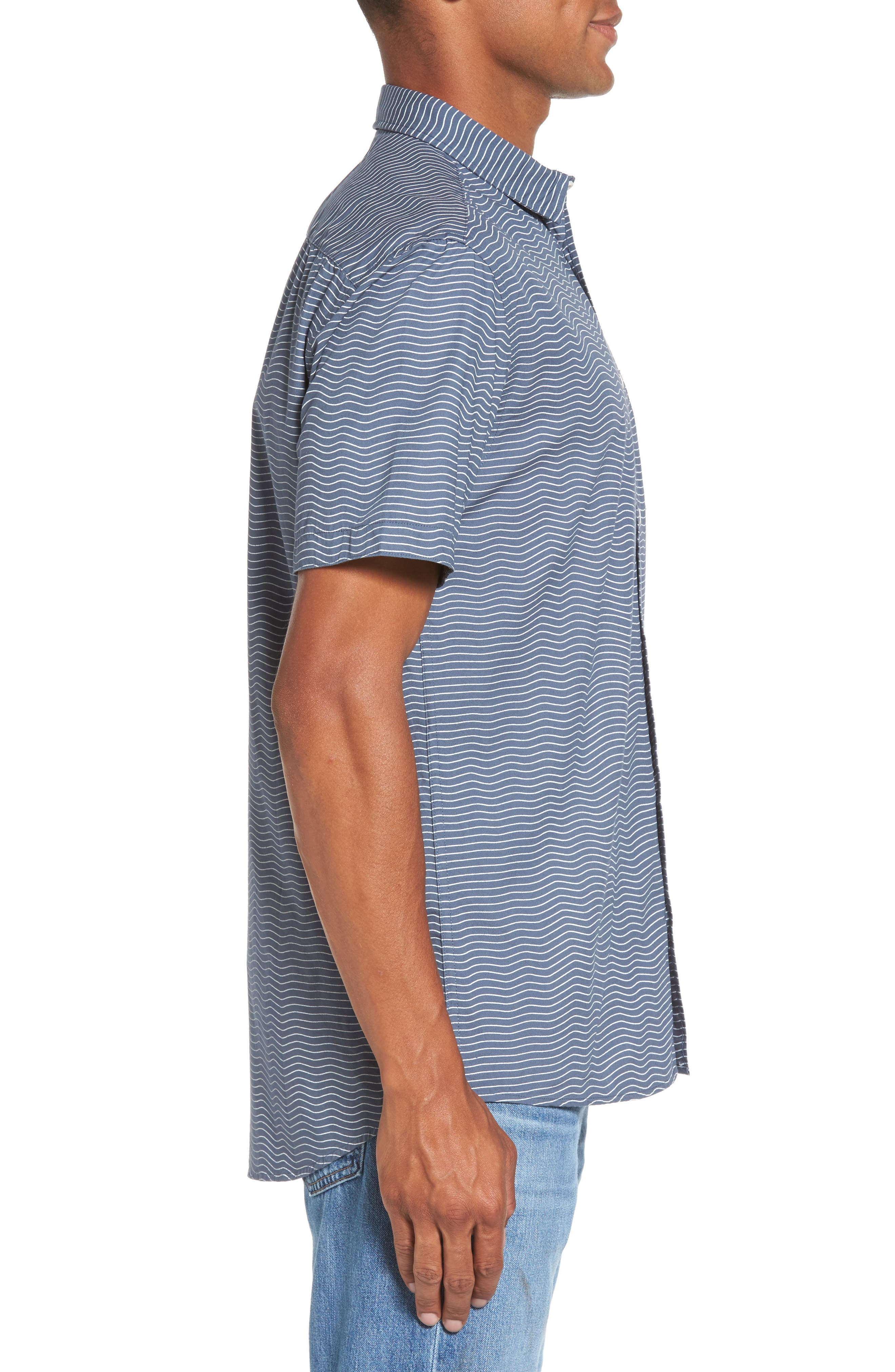 Heat Wave Stripe Shirt,                             Alternate thumbnail 3, color,                             Blue