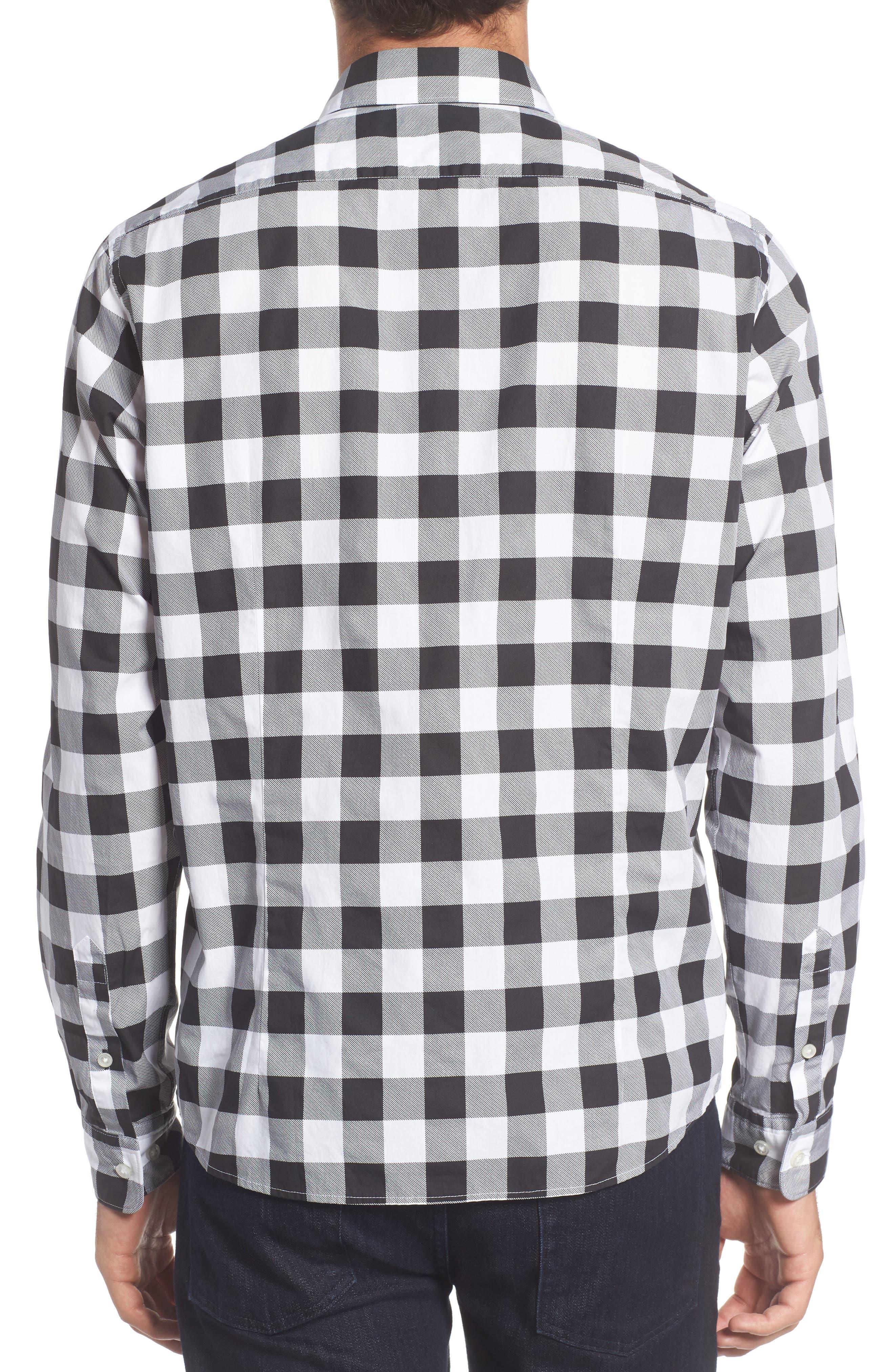 Lance Regular Fit Buffalo Plaid Sport Shirt,                             Alternate thumbnail 2, color,                             Black/ White