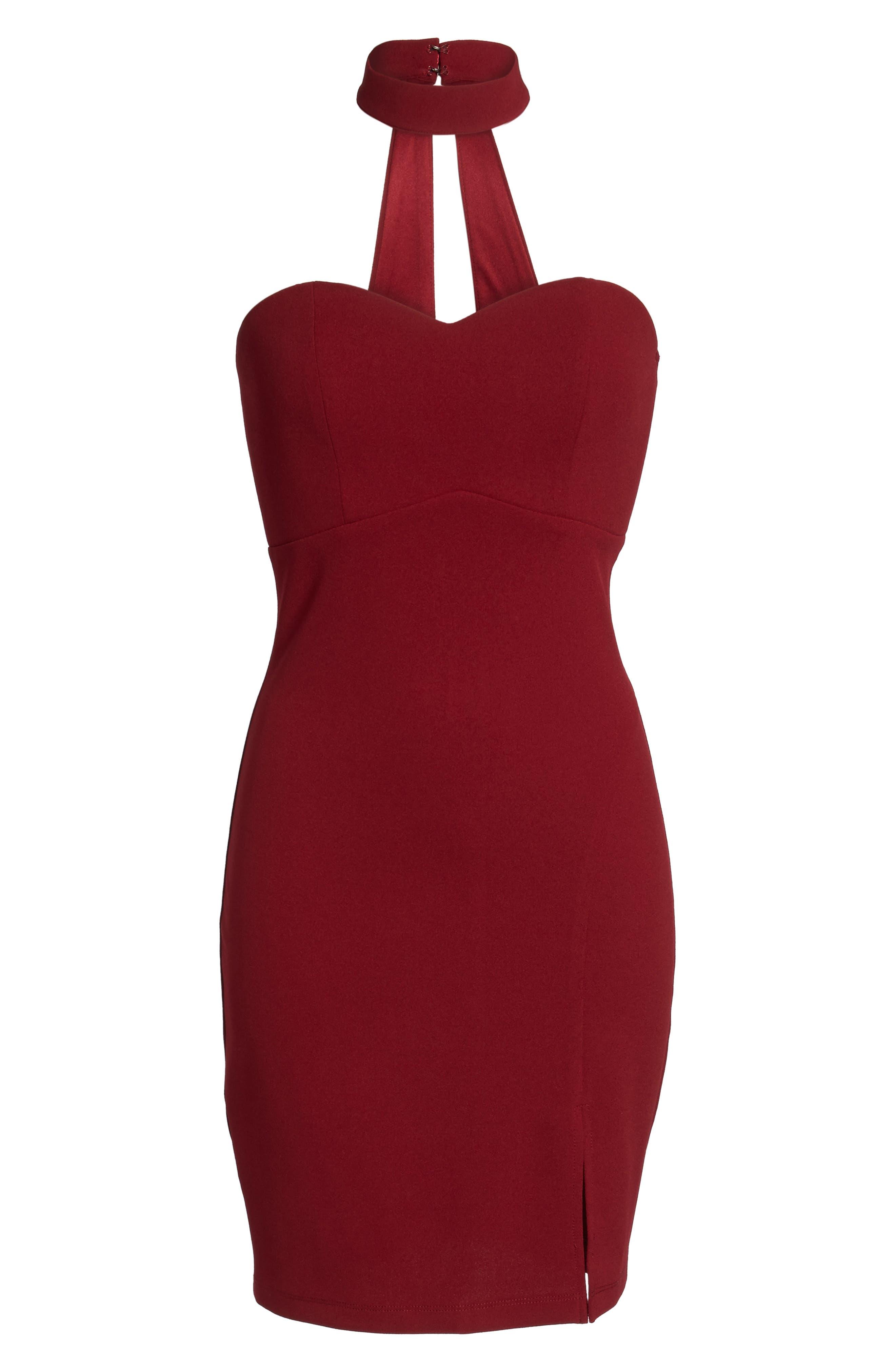 Choker Neck Body-Con Dress,                             Alternate thumbnail 6, color,                             Merlot