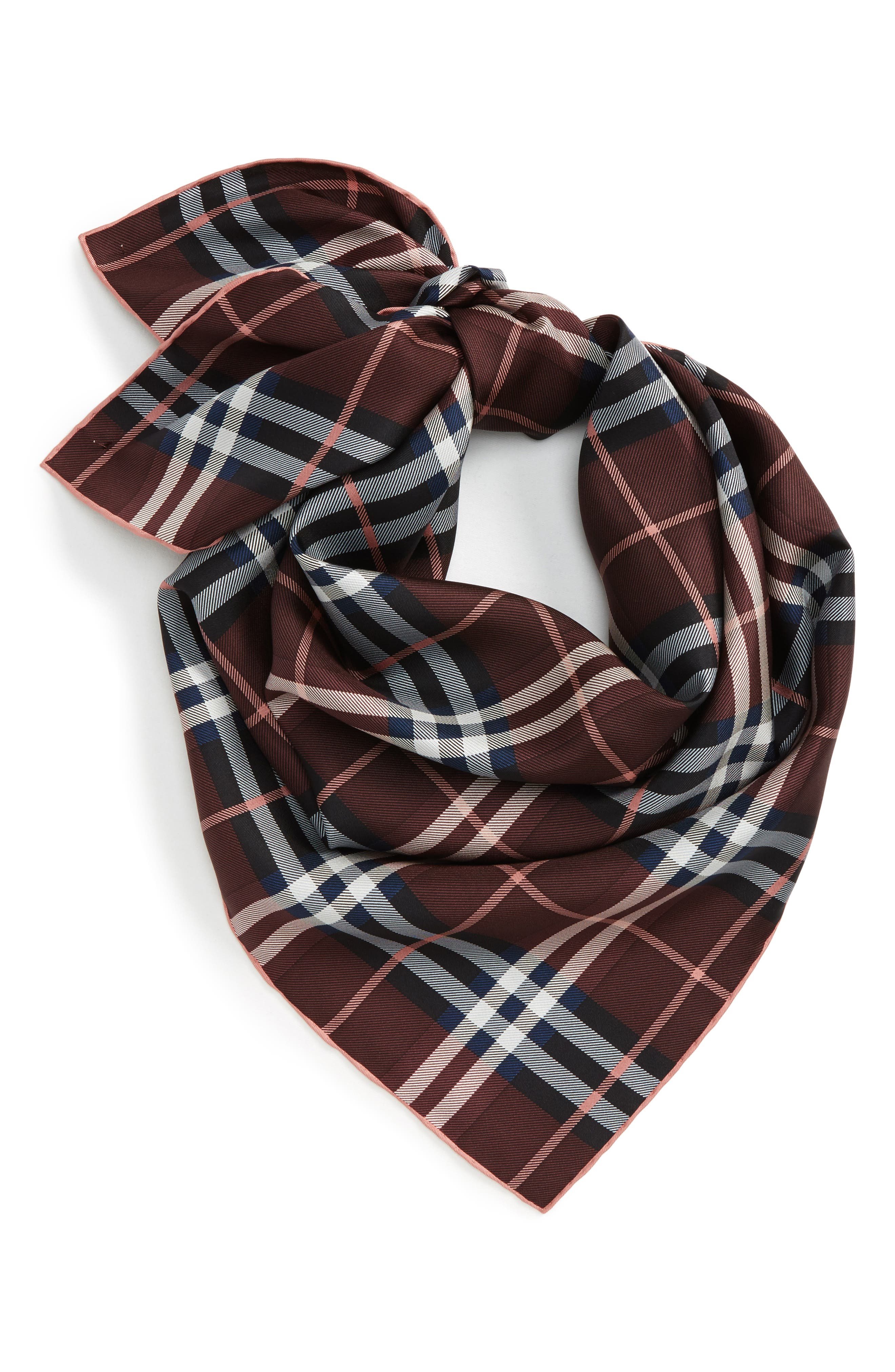 Castleford Check Silk Scarf,                         Main,                         color, Deep Claret