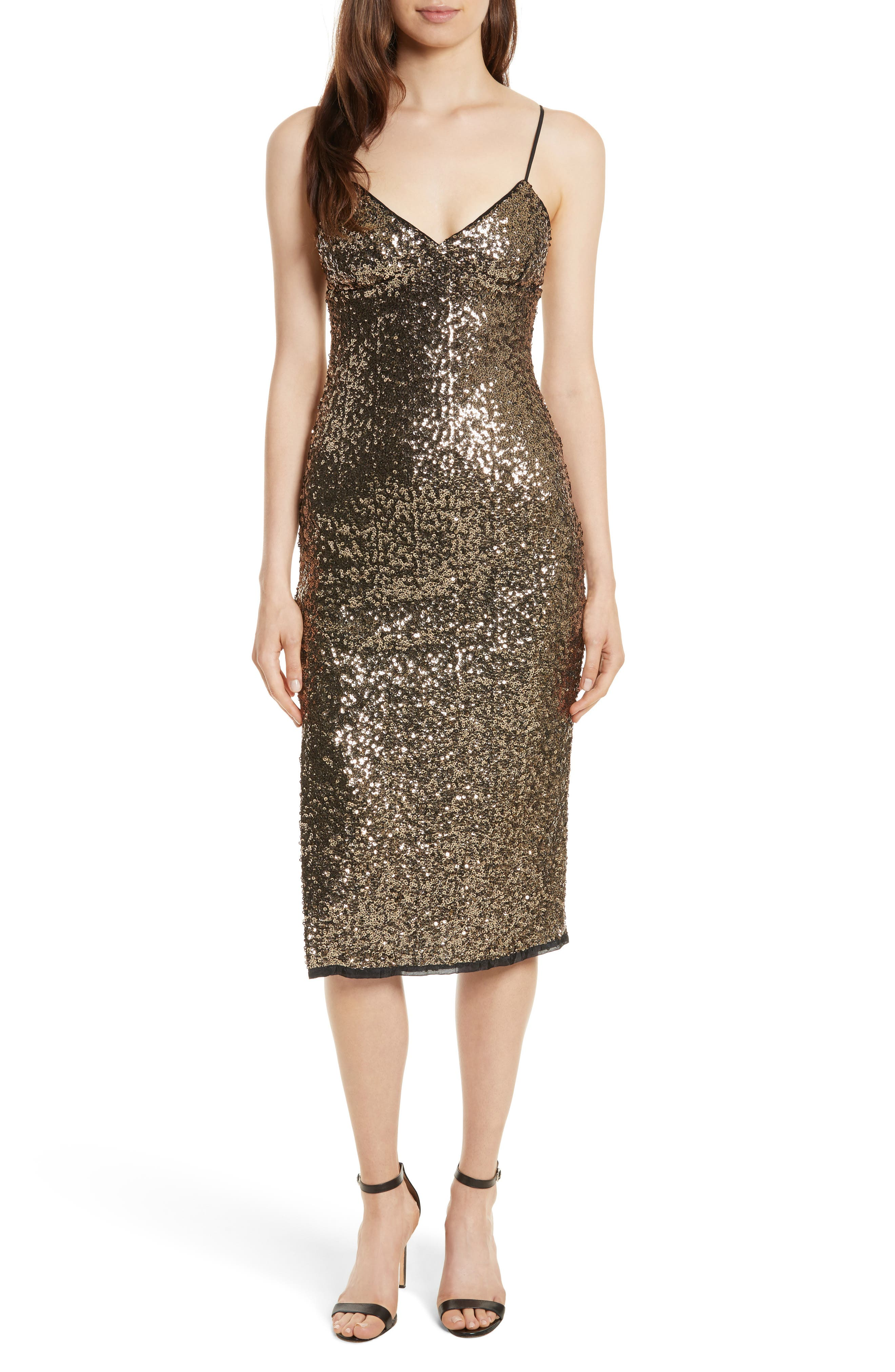 Alexis Sequin Camisole Dress,                         Main,                         color, Antique Gold