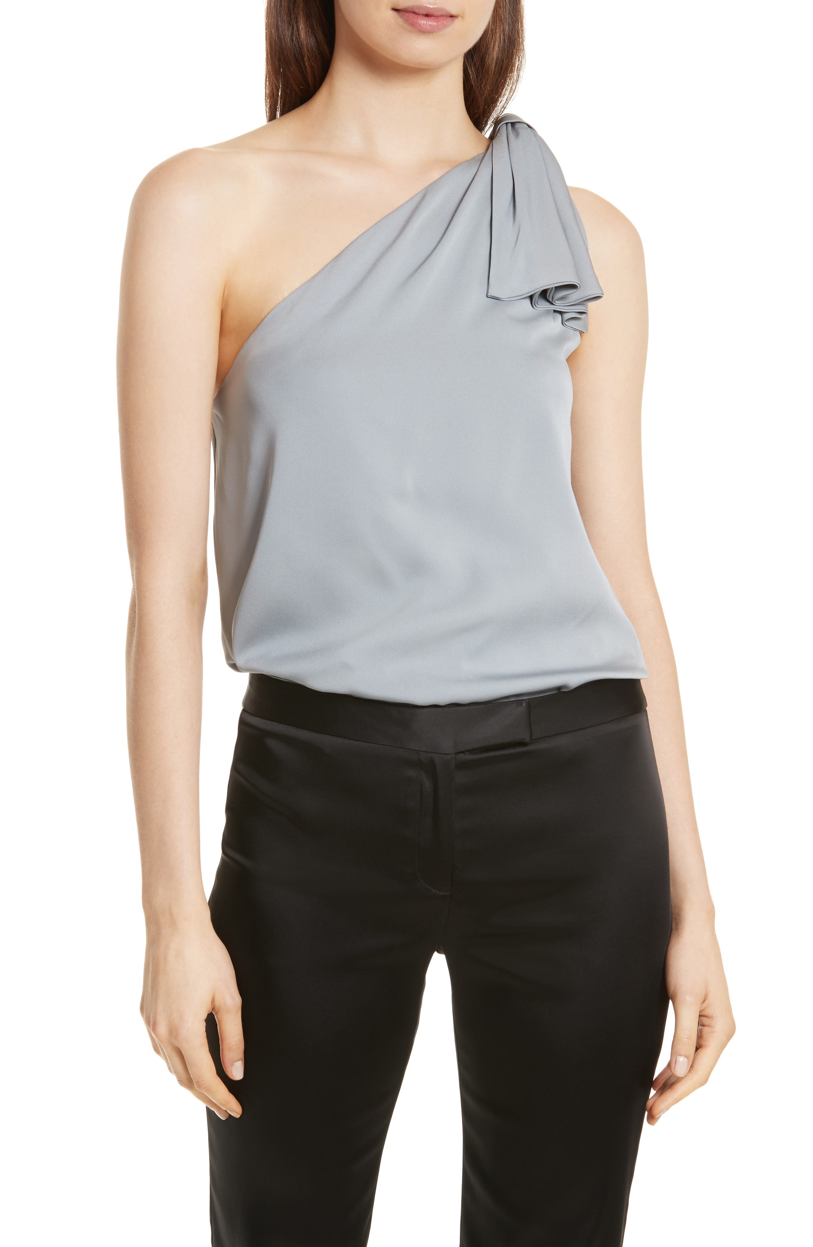 Cindy One-Shoulder Stretch Silk Top,                         Main,                         color, Silver