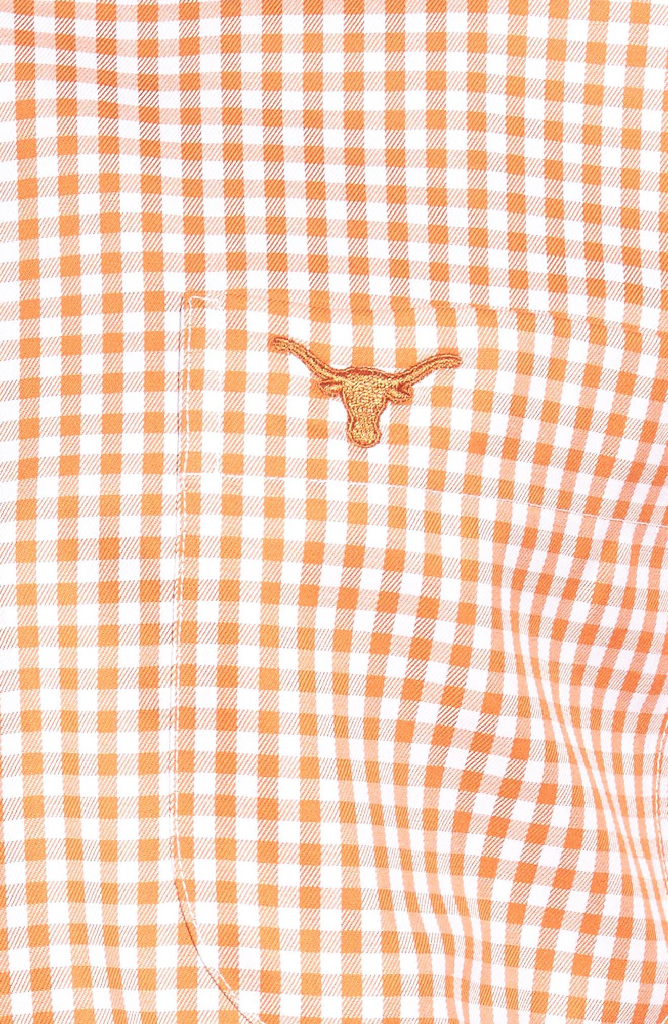 Texas Regular Fit Microcheck Sport Shirt,                             Alternate thumbnail 5, color,                             Rust