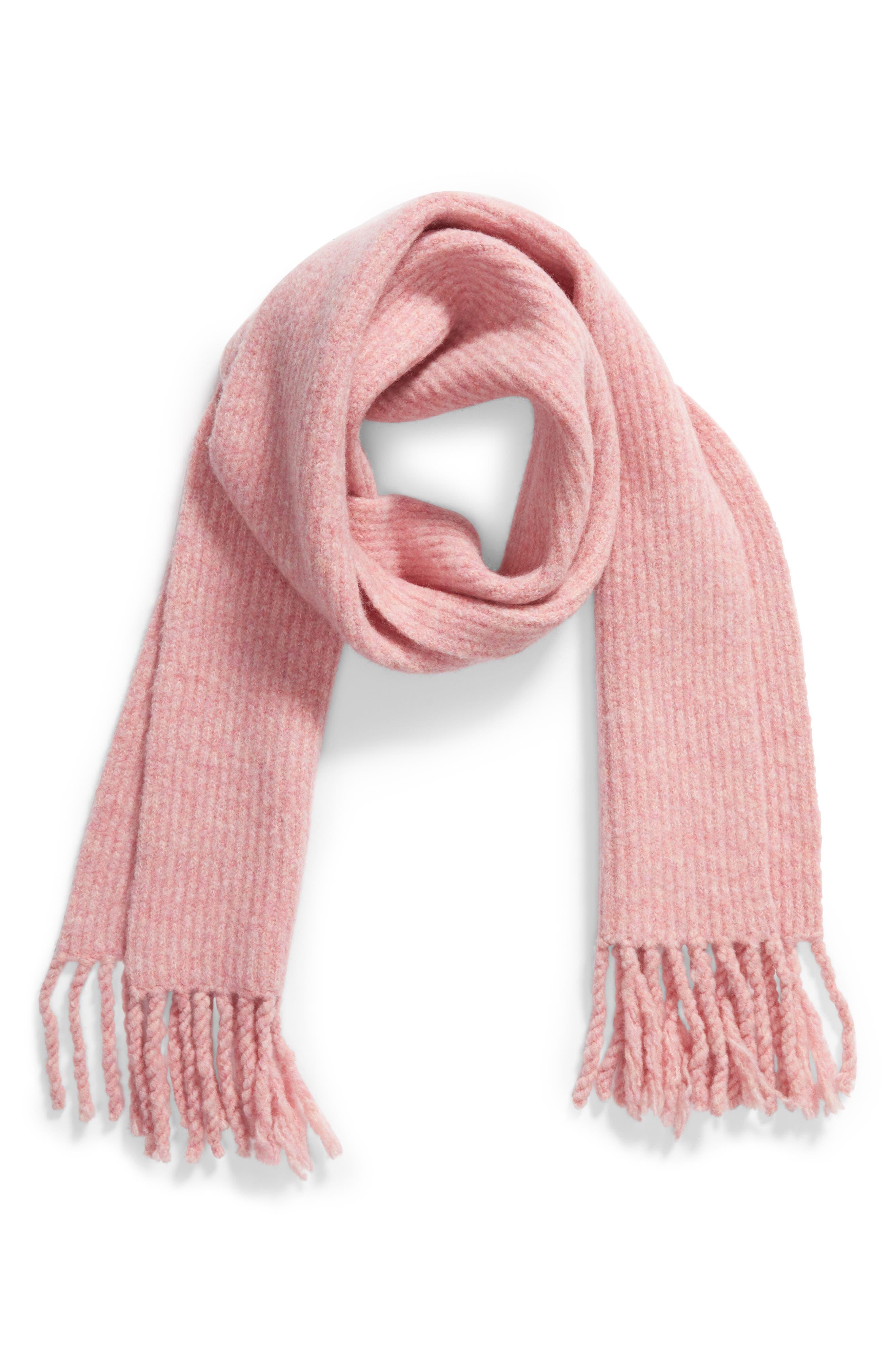 Francie Bouclé Knit Scarf,                             Alternate thumbnail 2, color,                             Pink