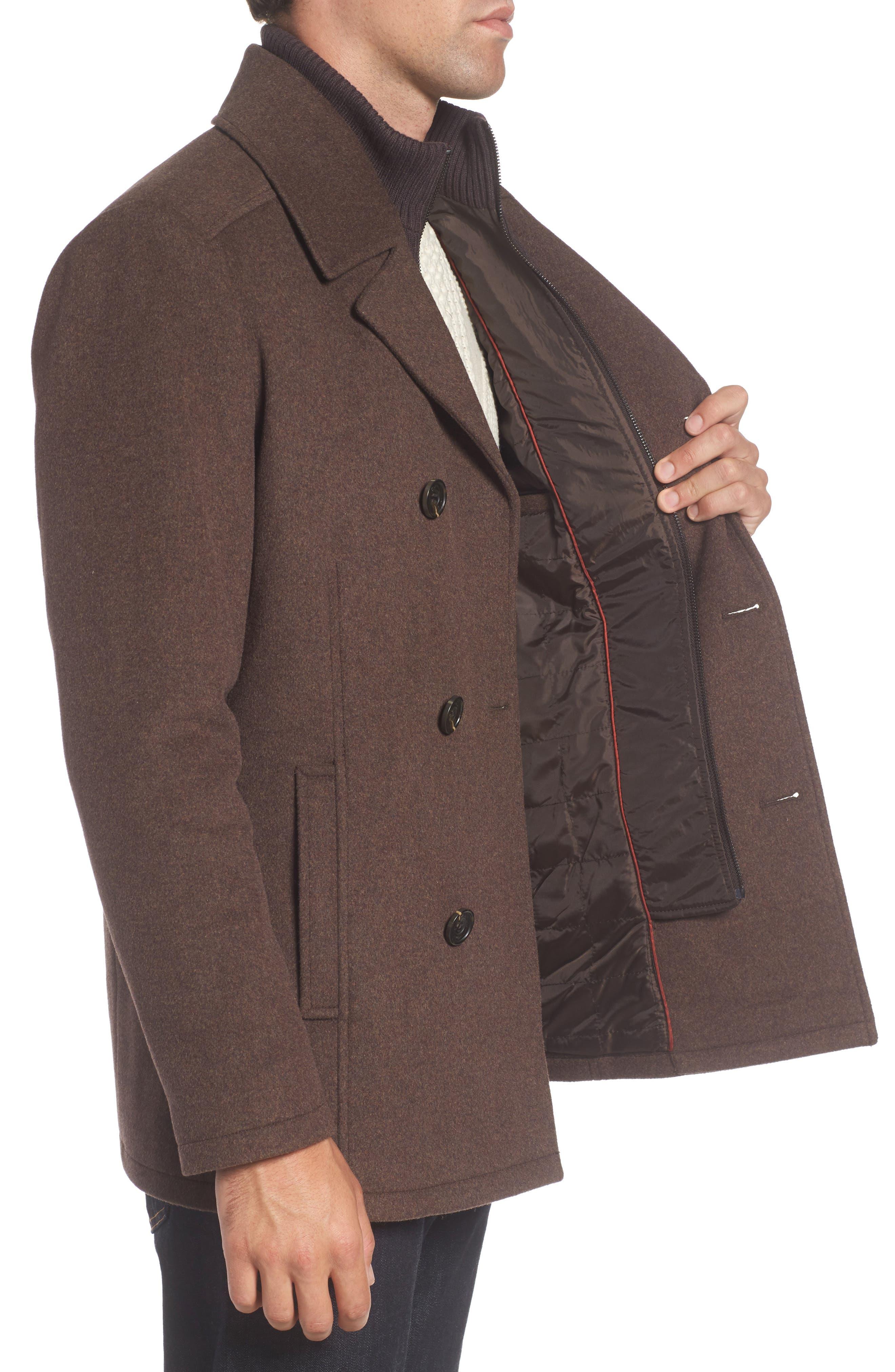 Wool Blend Peacoat,                             Alternate thumbnail 3, color,                             Medium Brown