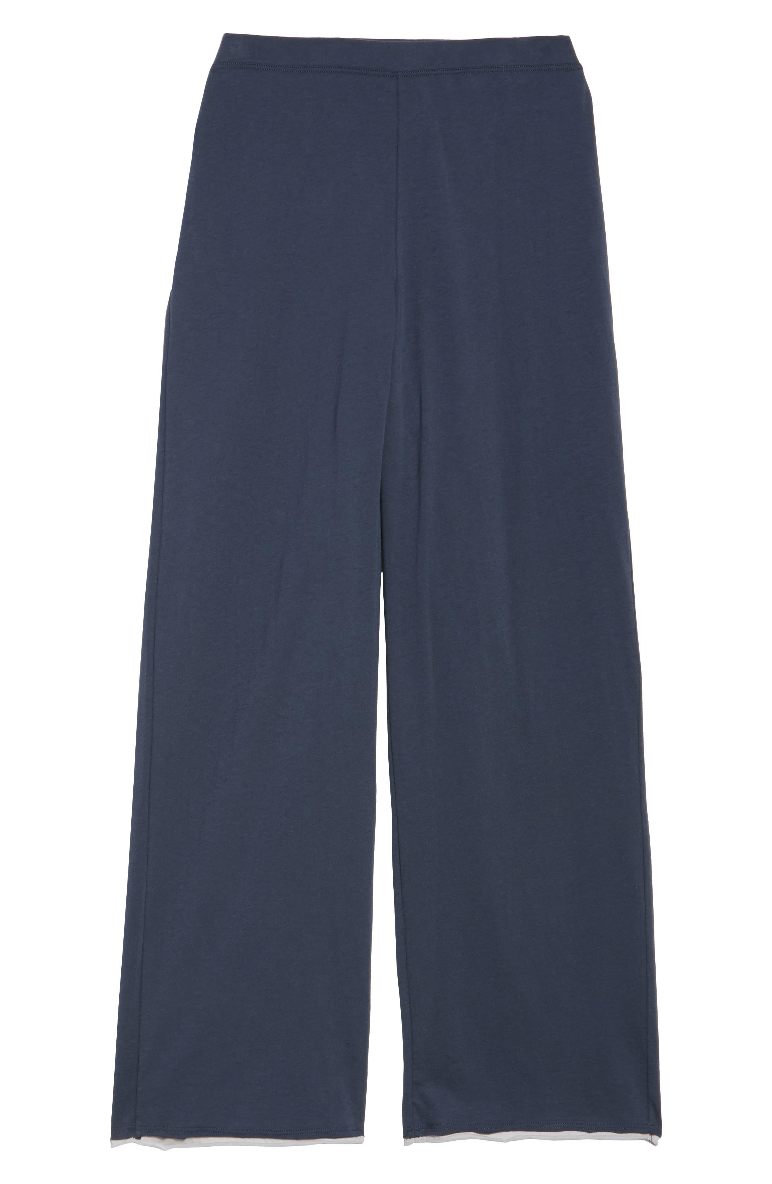 Etta Pima Cotton Pants,                             Alternate thumbnail 4, color,                             Anchor Blue Cloud