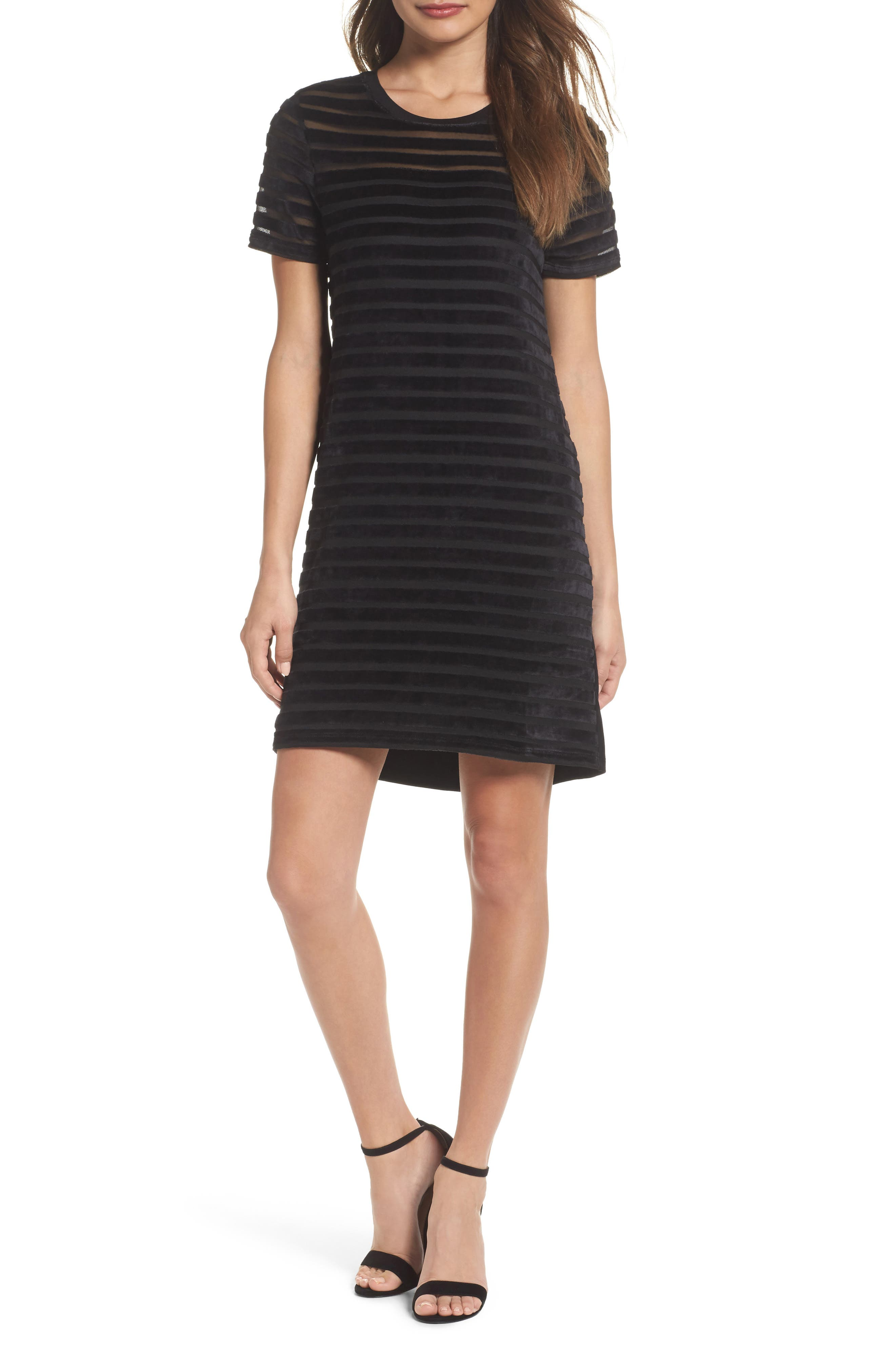 Velvet Stripe Shift Dress,                             Main thumbnail 1, color,                             Black