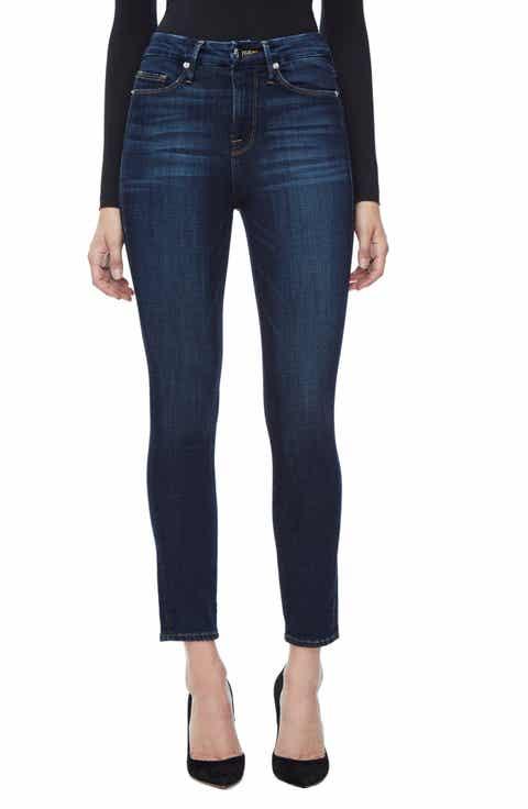 Good American Good Legs High Waist Ankle Skinny Jeans (Blue 089) (Regular & Plus Size)