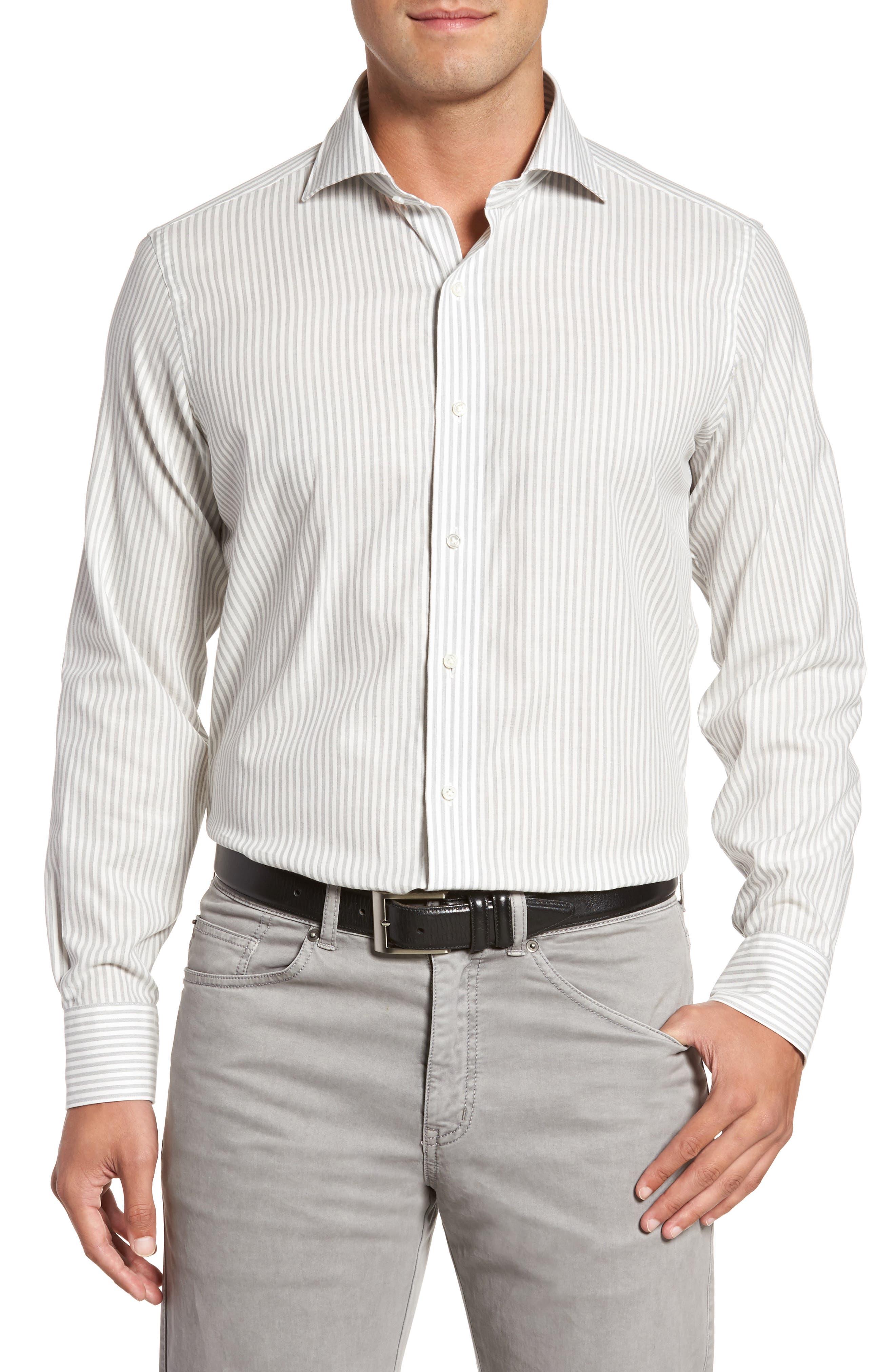 Loch Mélange Stripe Sport Shirt,                             Main thumbnail 1, color,                             Argento