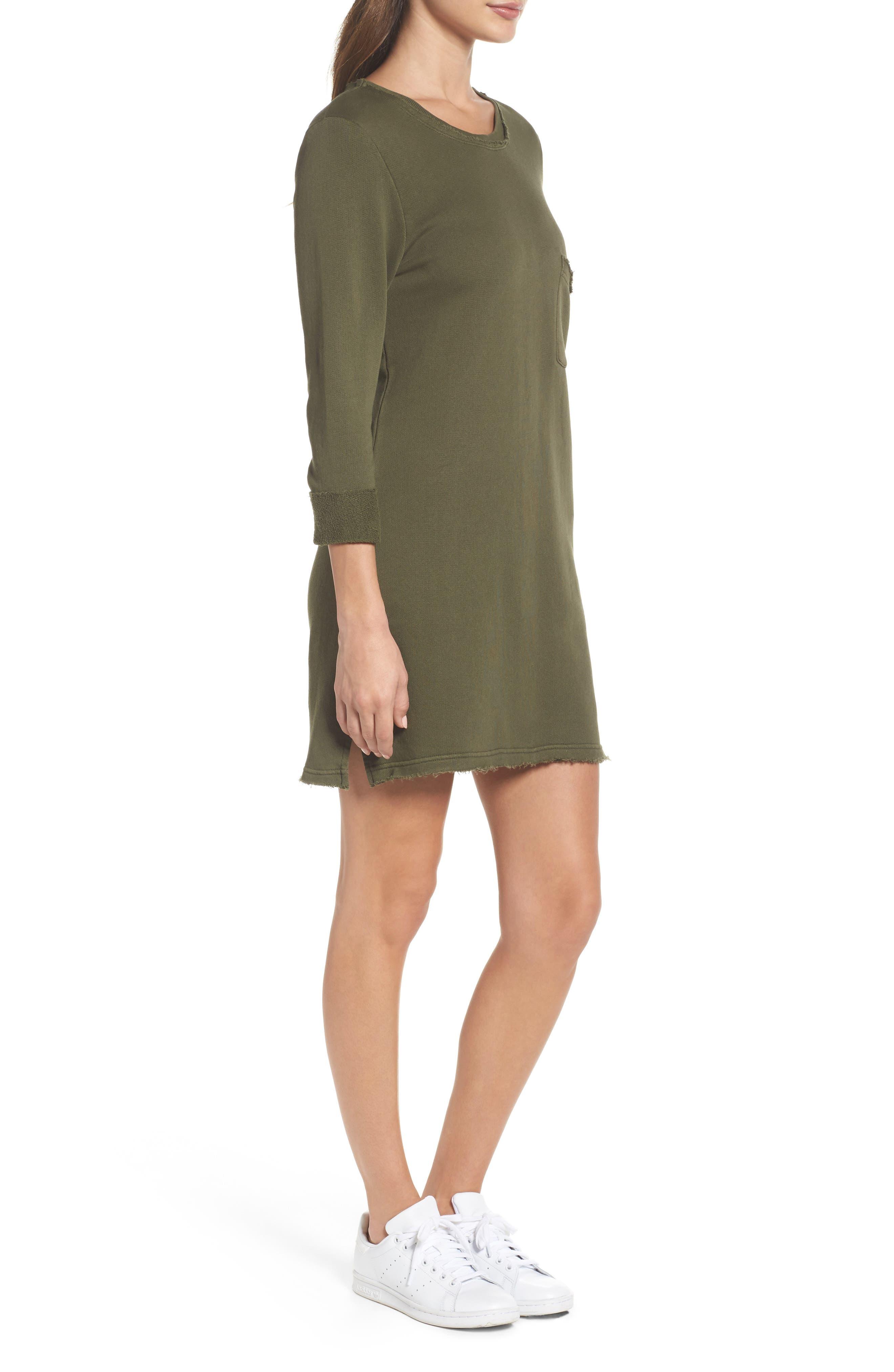 Chicago T-Shirt Dress,                             Alternate thumbnail 3, color,                             Military Green