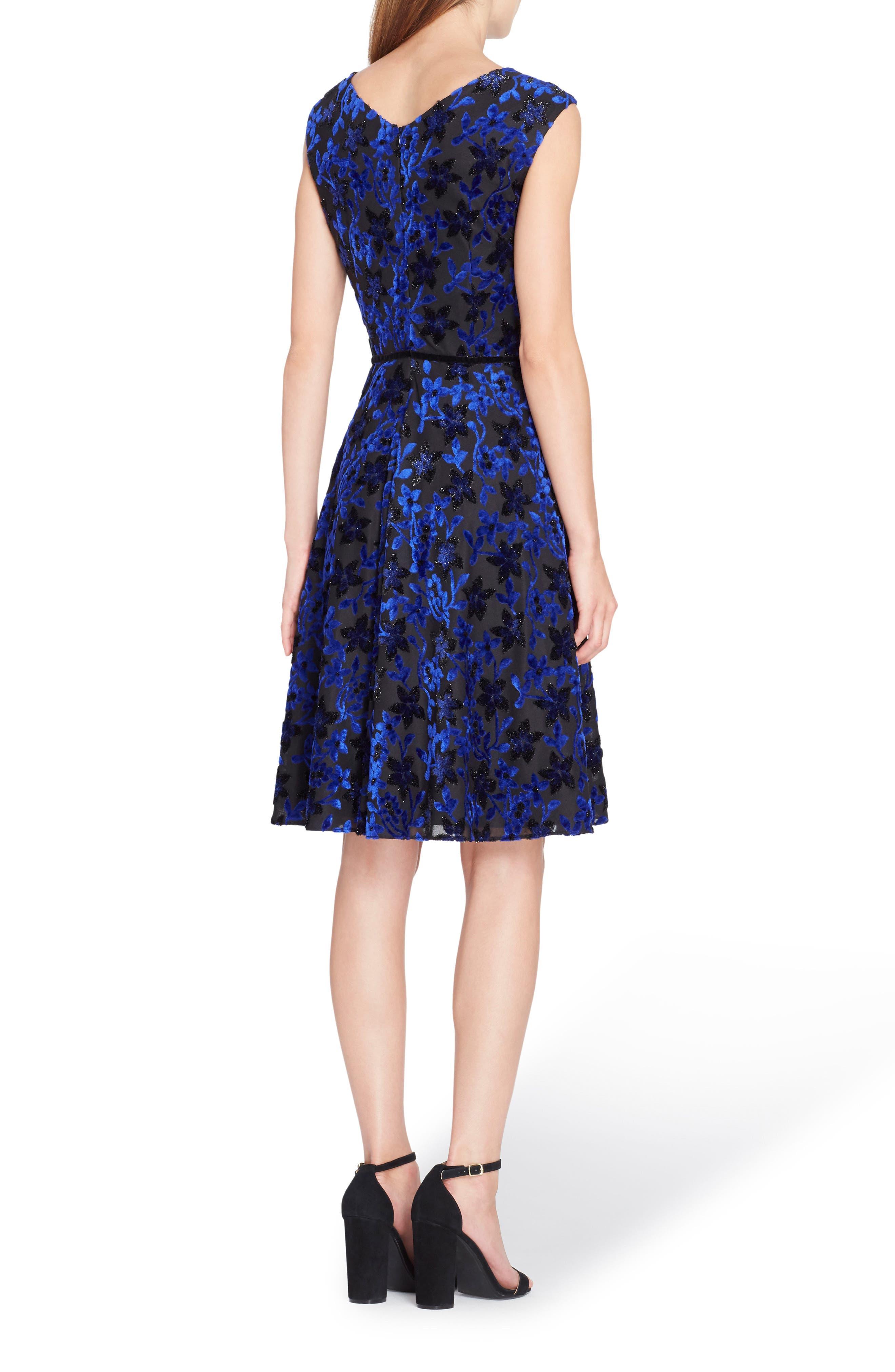 Alternate Image 2  - Tahari Flocked Velvet A-Line Dress (Regular & Petite)