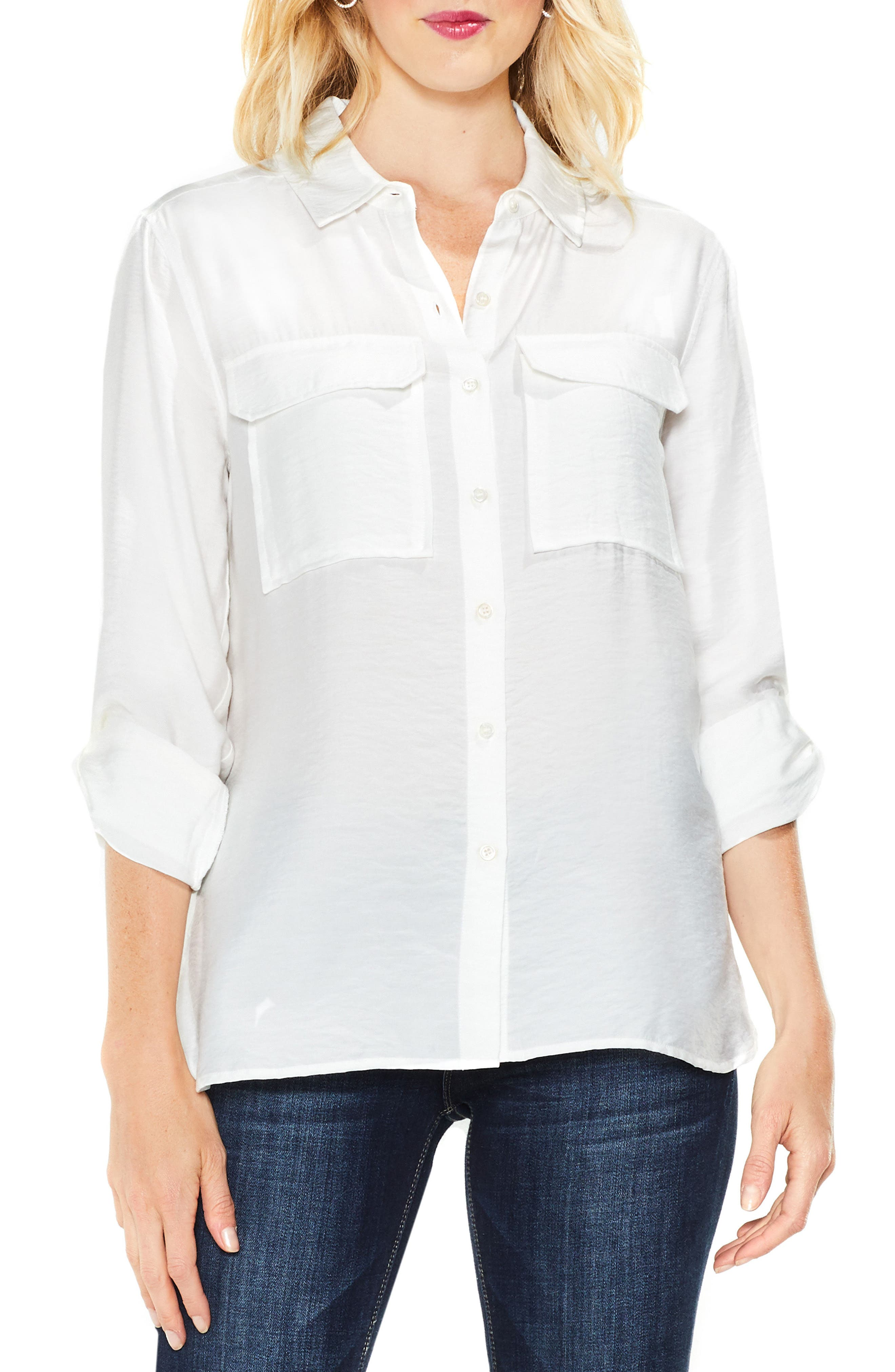 Main Image - Two by Vince Camuto Hammered Satin Utility Shirt (Regular & Petite)