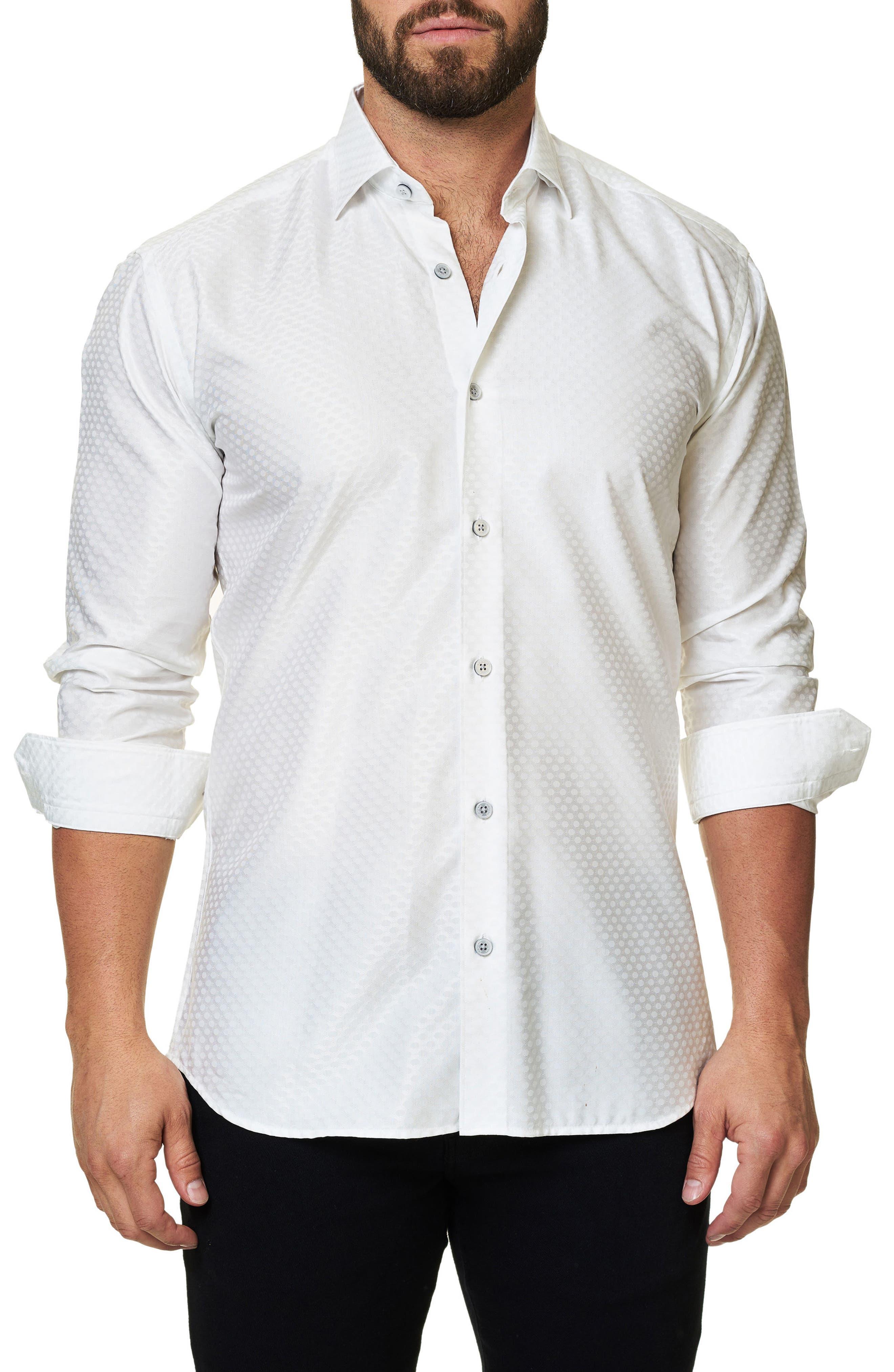 Trim Fit Dot Print Sport Shirt,                         Main,                         color, White