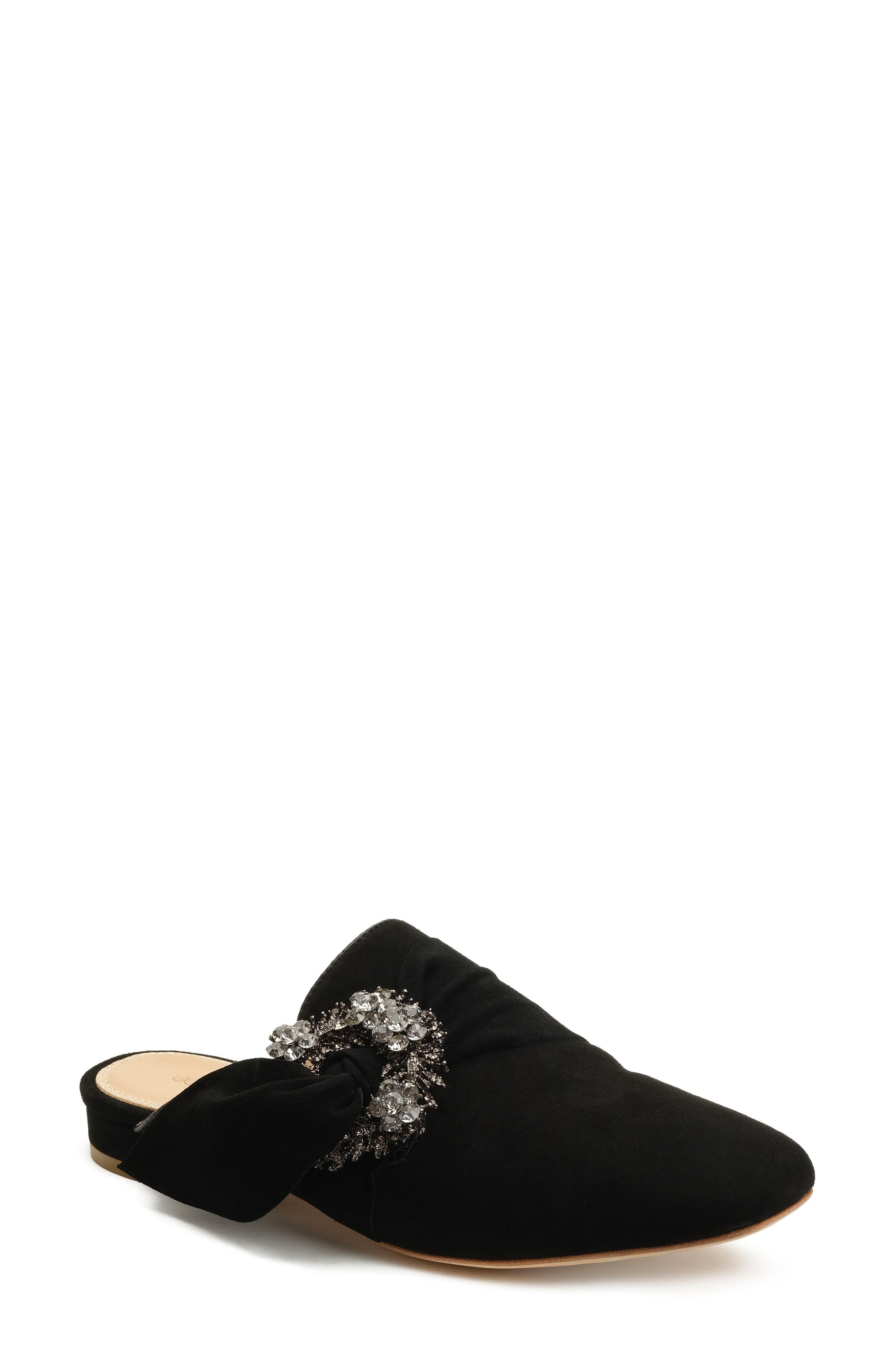 Laverne Tie Slide,                         Main,                         color, Black Suede