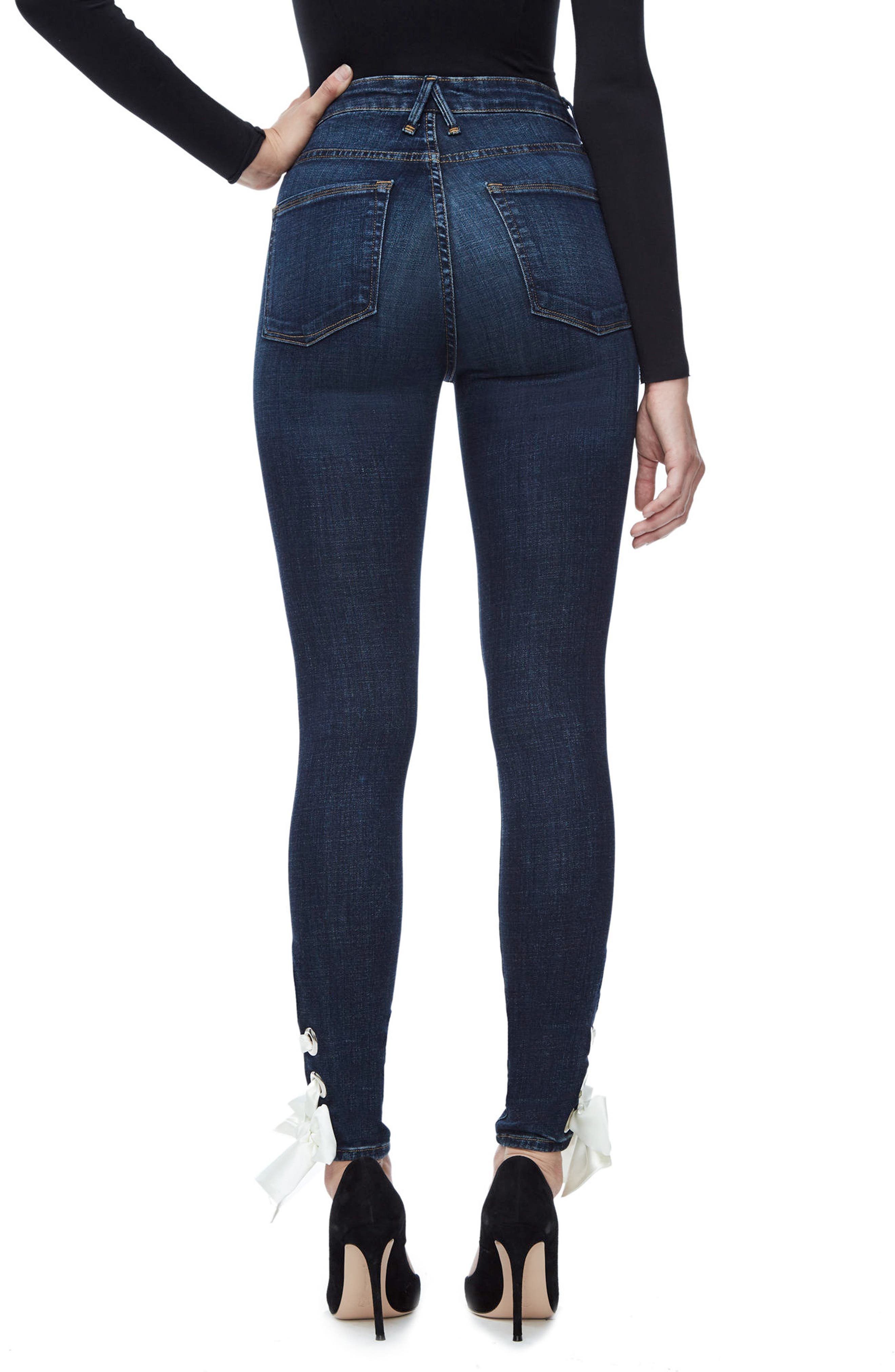 Alternate Image 2  - Good American Good Waist Ultra High Waist Ankle Skinny Jeans (Blue 102) (Regular & Plus Size)