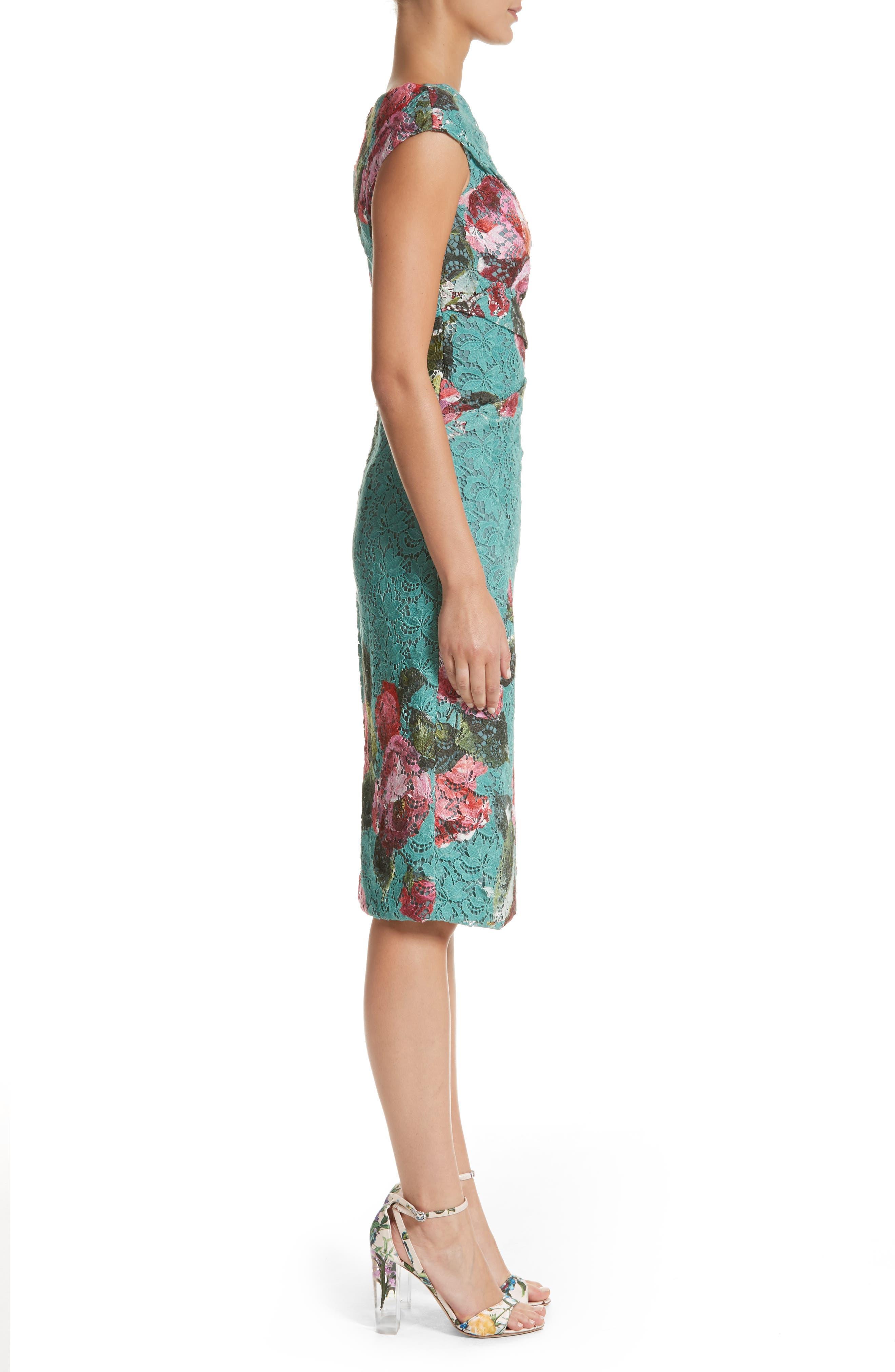 Alternate Image 4  - Monique Lhuillier Rose Print Guipure Sheath Dress