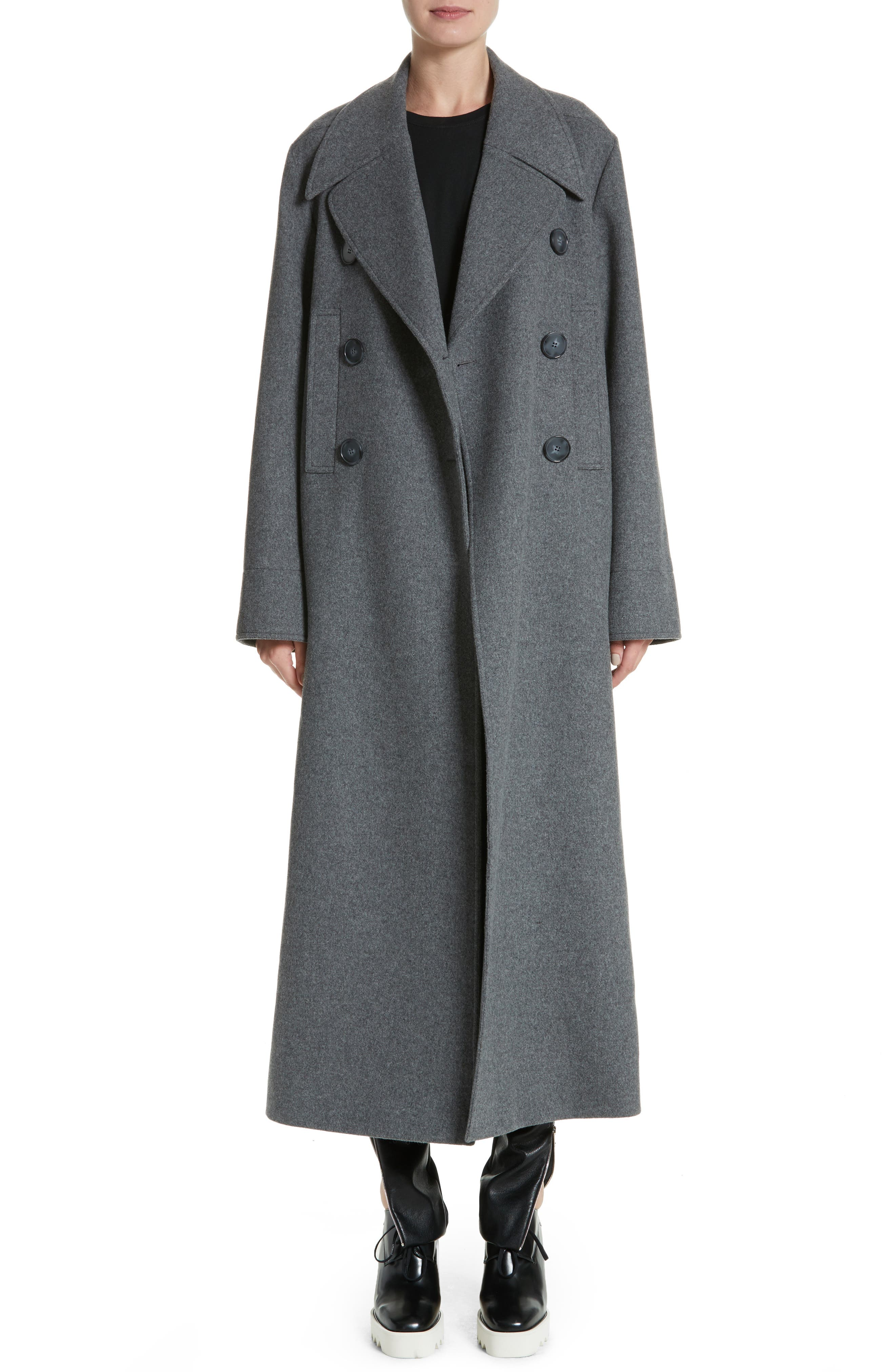 Edwina Long Double Breasted Wool Blend Coat,                             Main thumbnail 1, color,                             Graphite