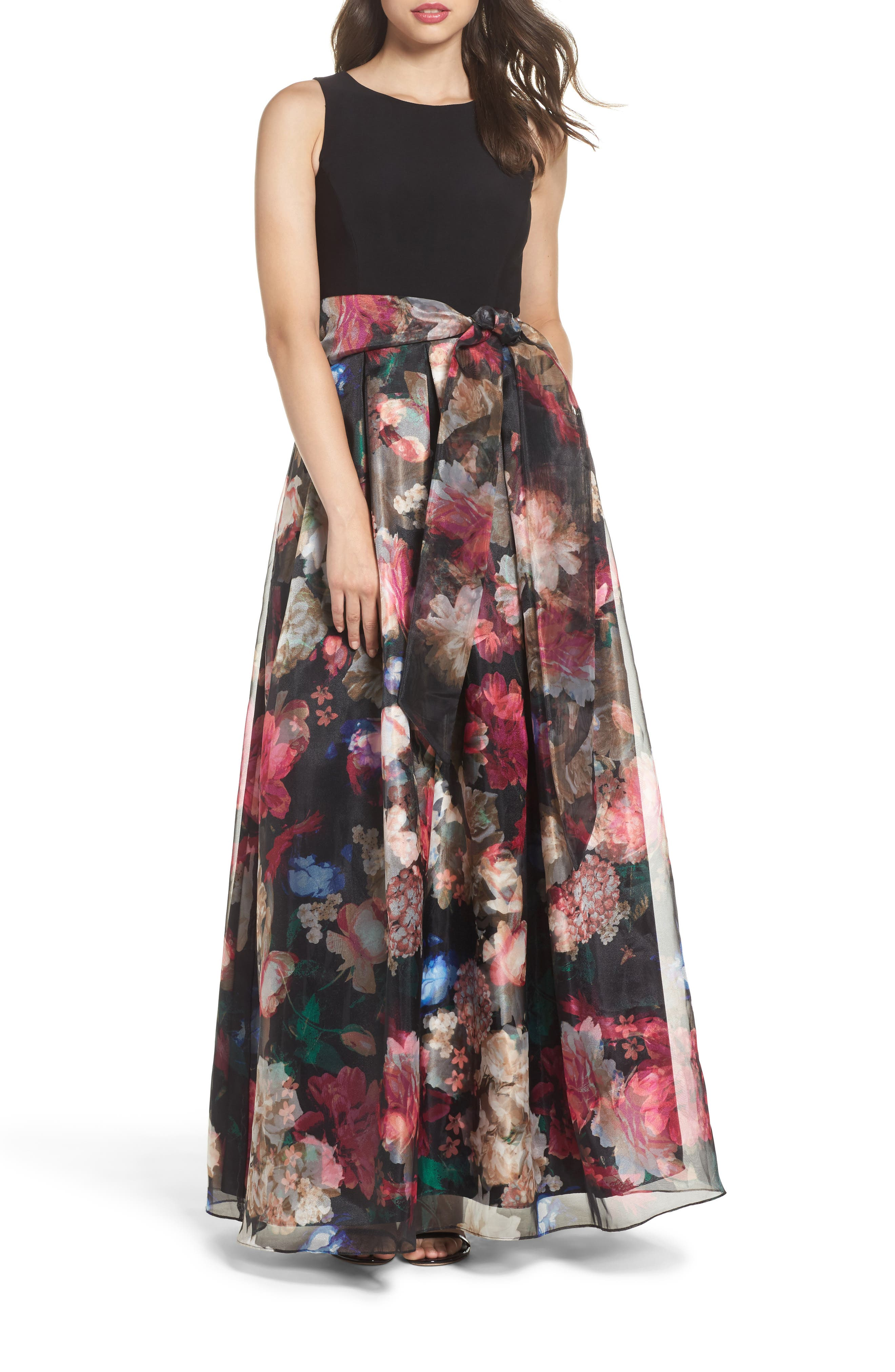 Jersey & Organza Gown,                         Main,                         color, Black/ Pink/ Green