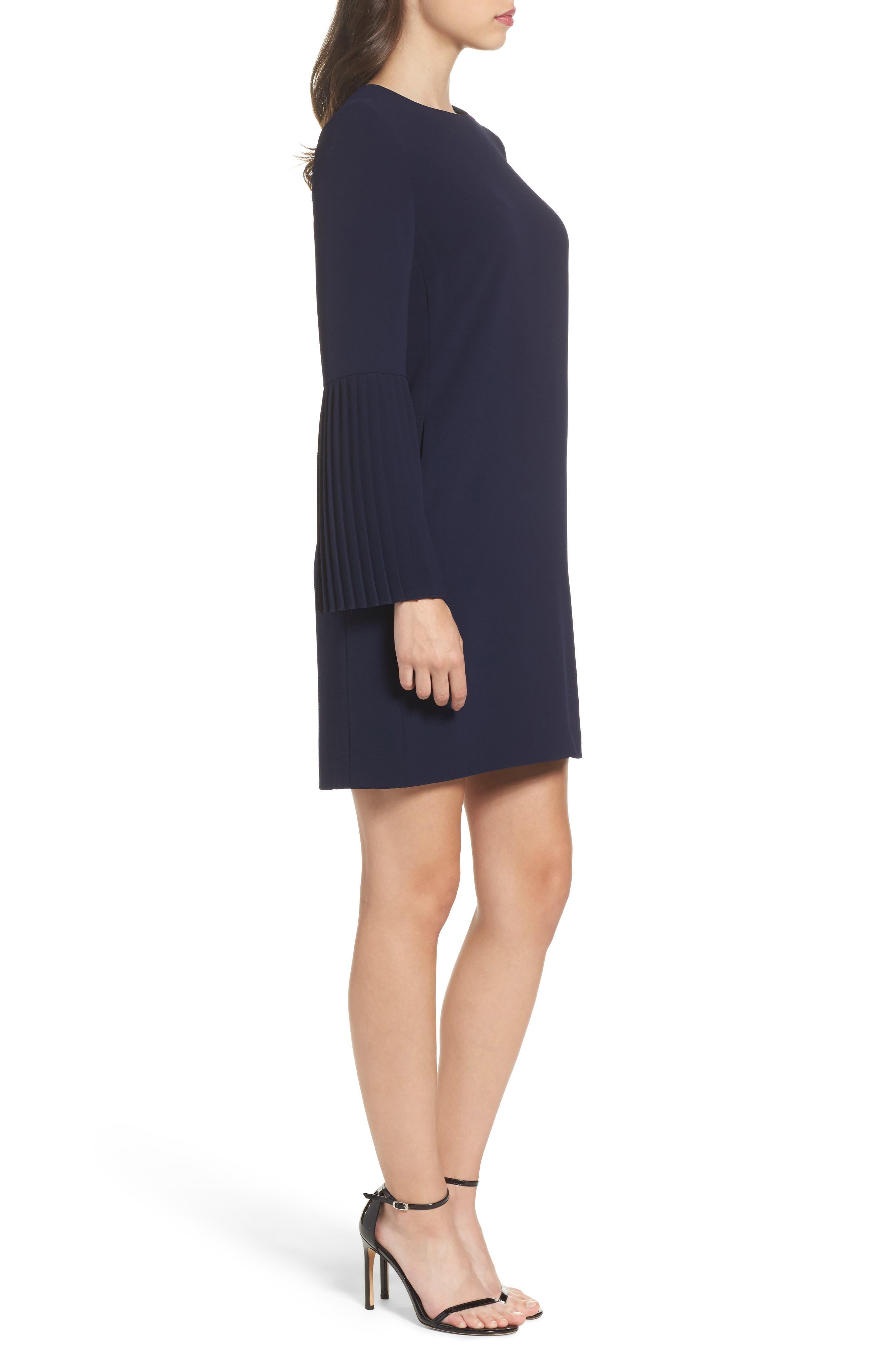 Bell Sleeve Shift Dress,                             Alternate thumbnail 3, color,                             Galaxy Blue