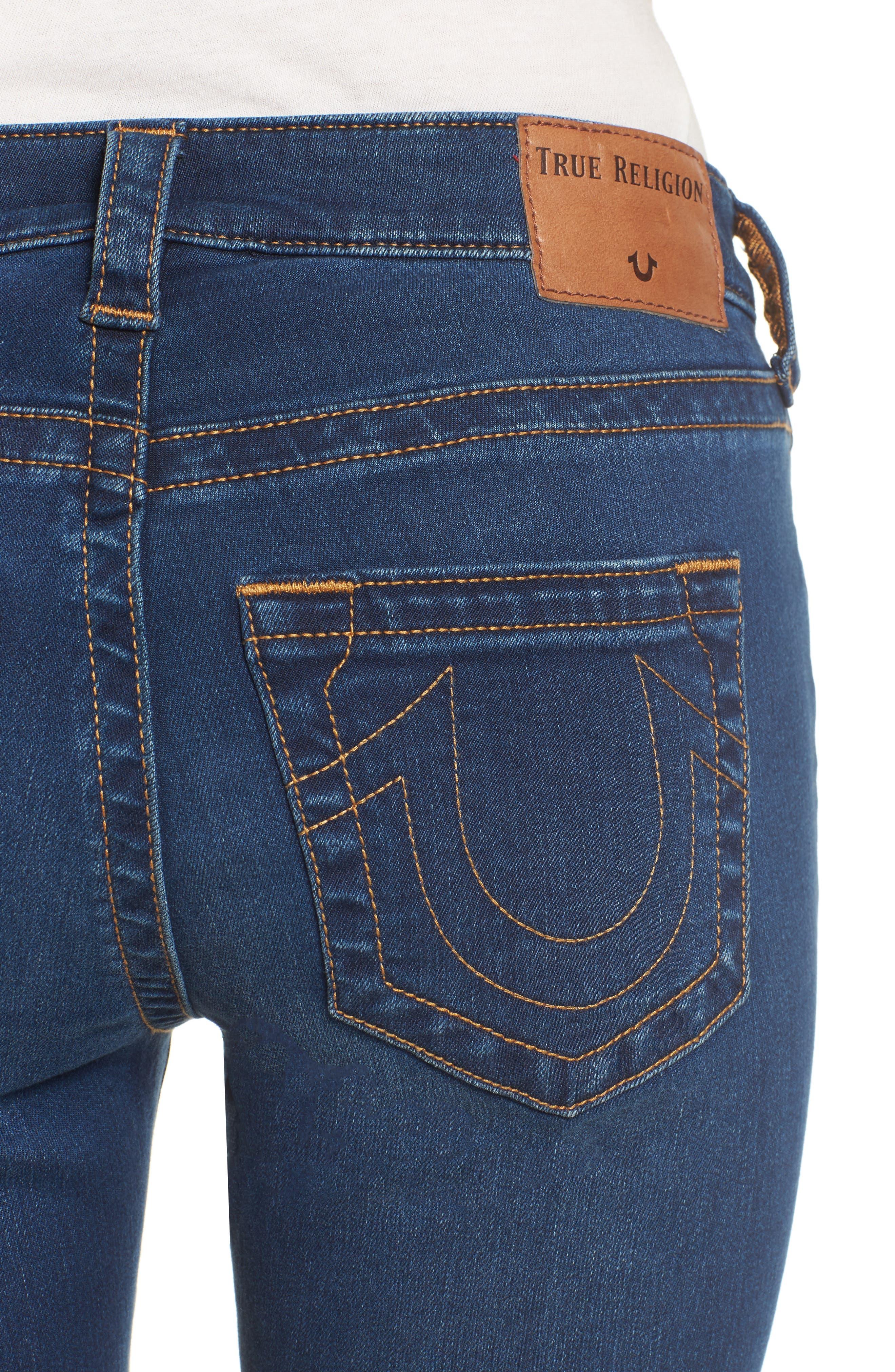 Jennie Curvy Skinny Jeans,                             Alternate thumbnail 4, color,                             Lands End Indigo
