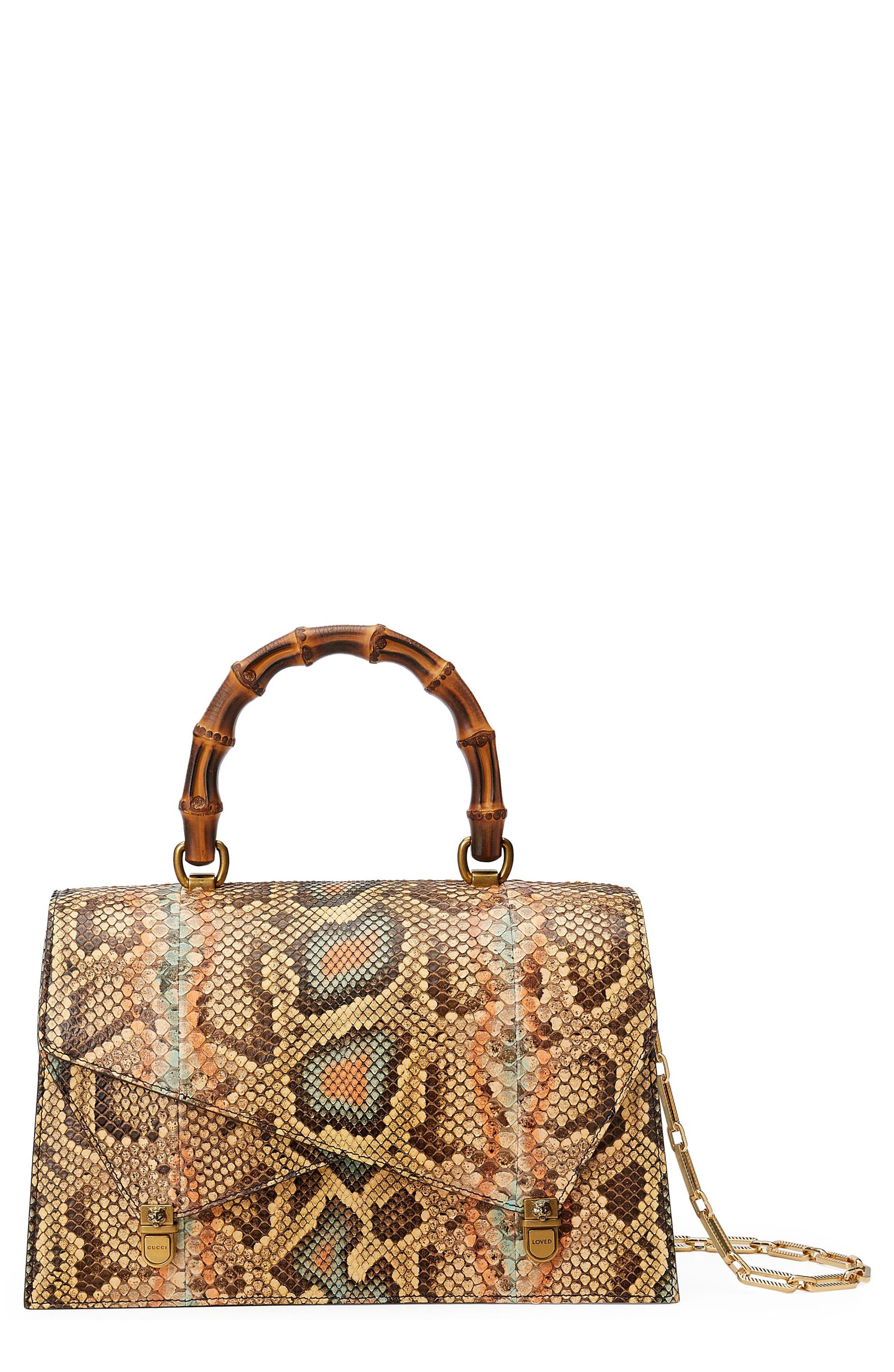Linea P Painted Genuine Python Top Handle Satchel,                         Main,                         color, Brown Multi