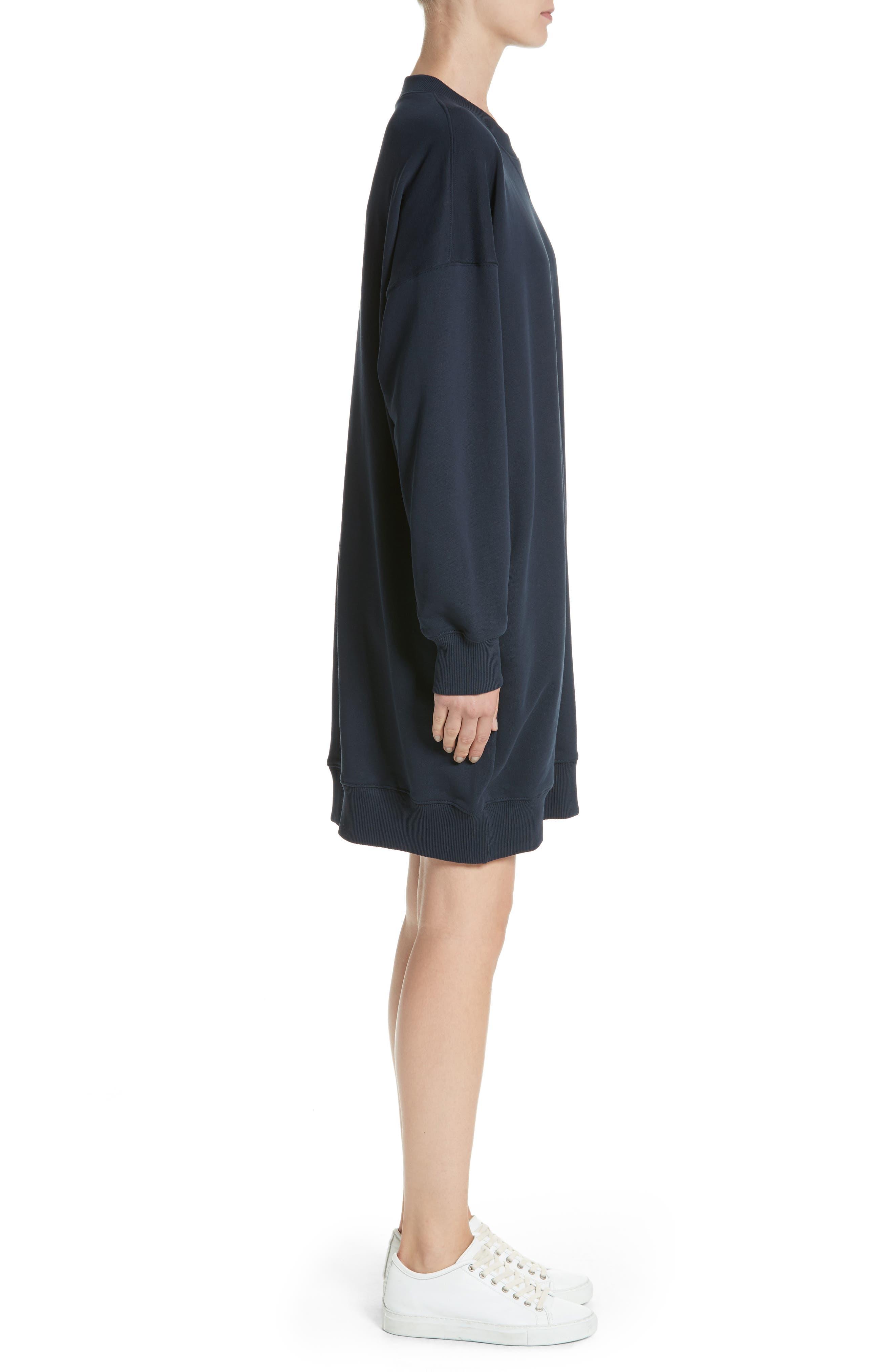 Sweatshirt Dress,                             Alternate thumbnail 3, color,                             Navy