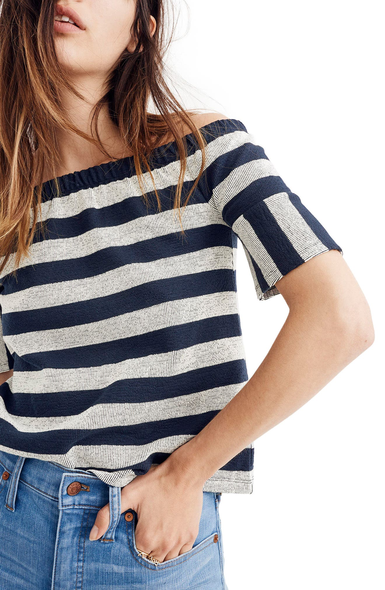 Stripe Off the Shoulder Texture Top,                             Alternate thumbnail 3, color,                             Deep Navy
