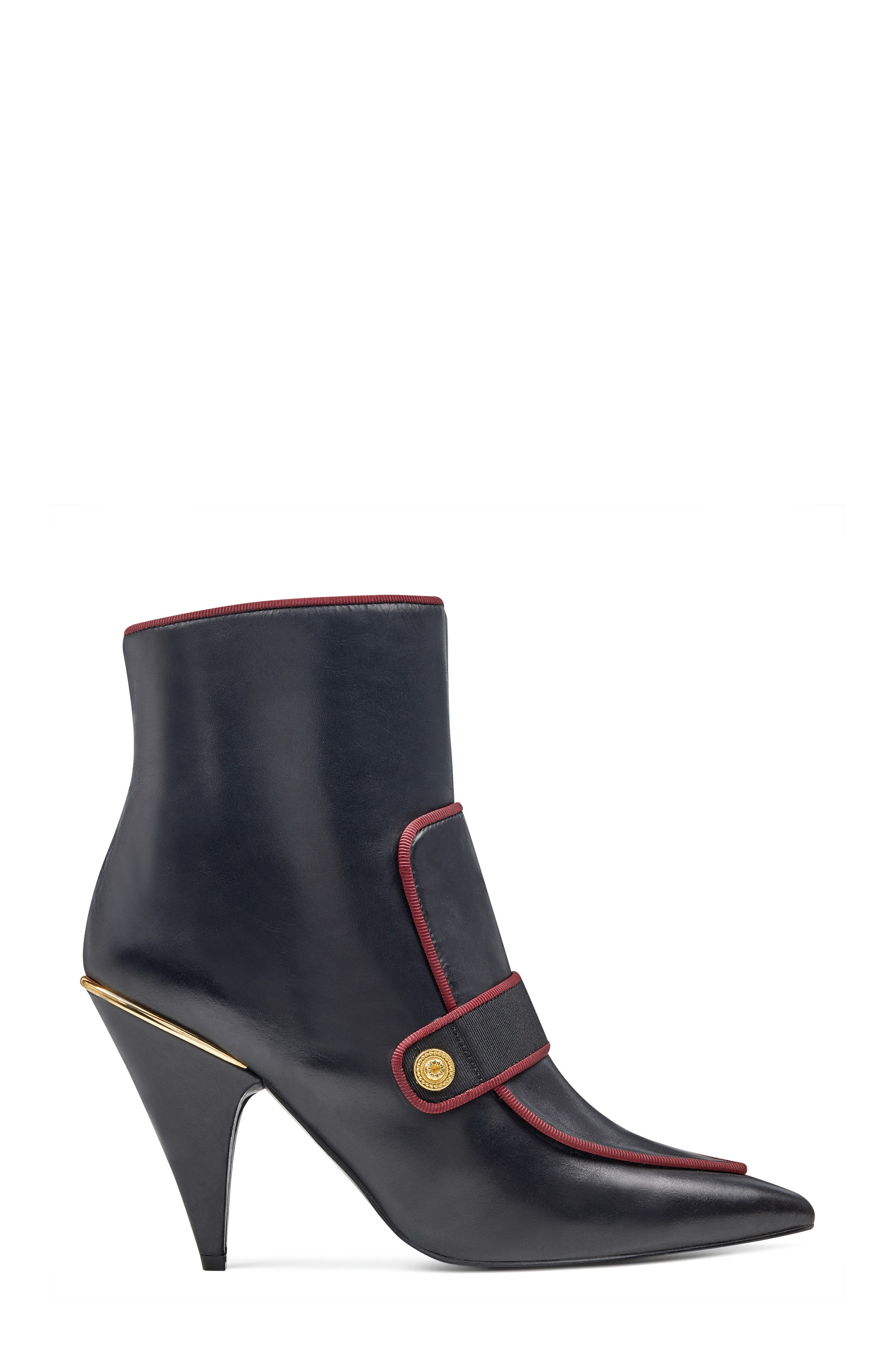 Westham Pointy Toe Bootie,                             Alternate thumbnail 3, color,                             Black/ Wine Leather