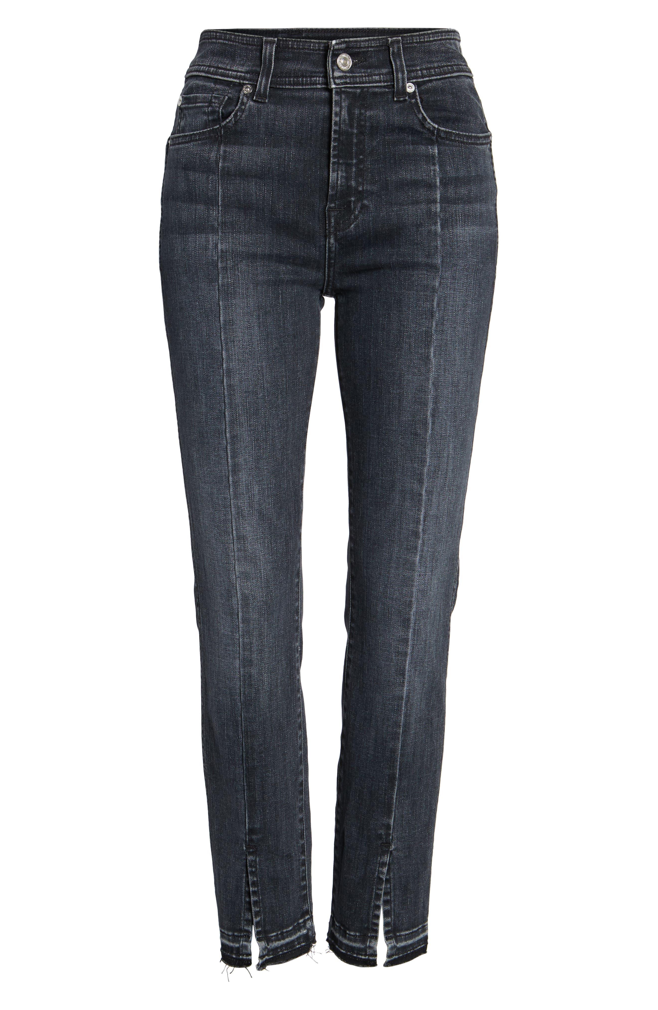 Split Hem Ankle Skinny Jeans,                             Alternate thumbnail 6, color,                             Vintage Noir