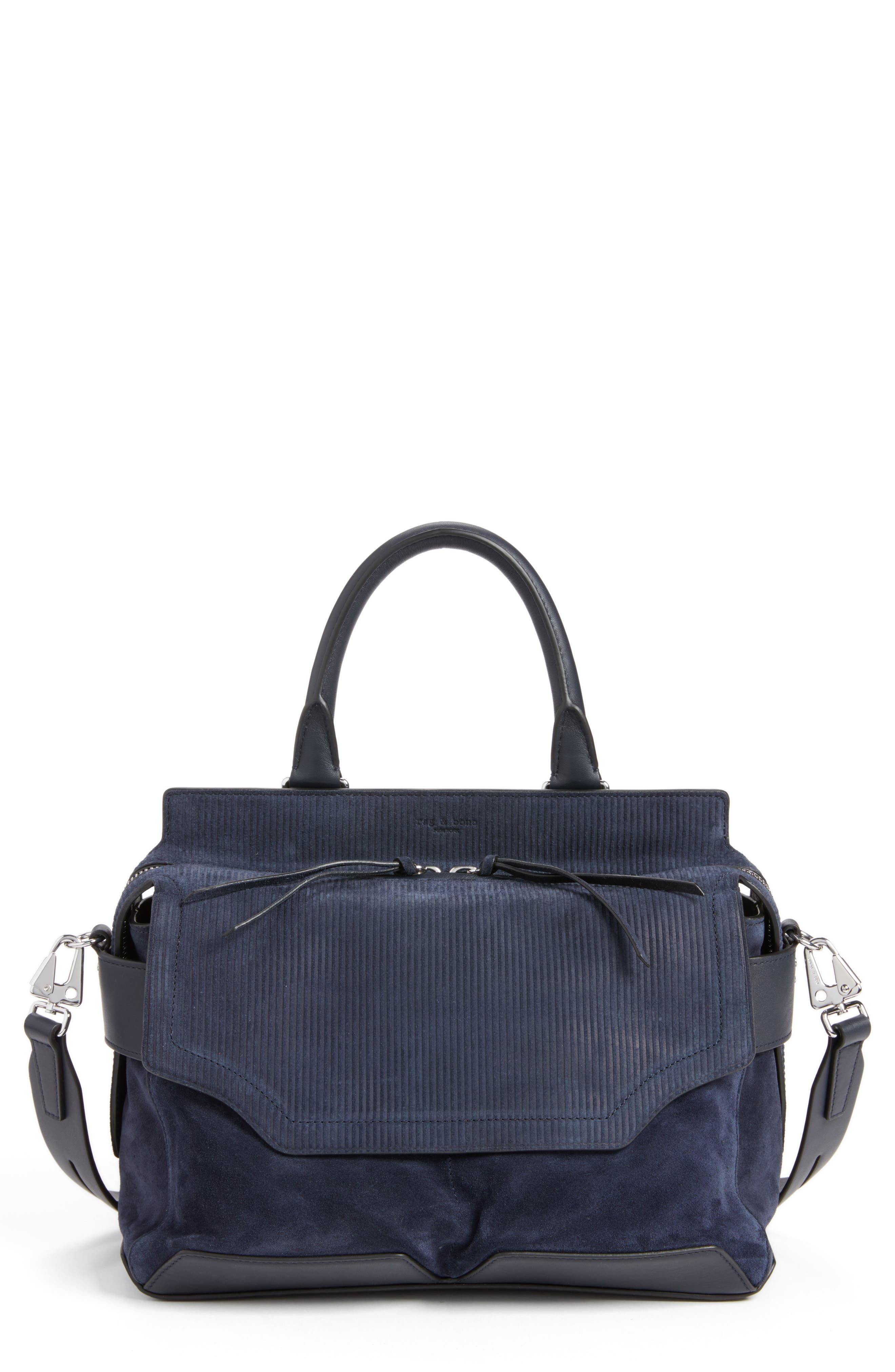Pilot Calfskin Leather Satchel,                             Main thumbnail 1, color,                             Navy Suede