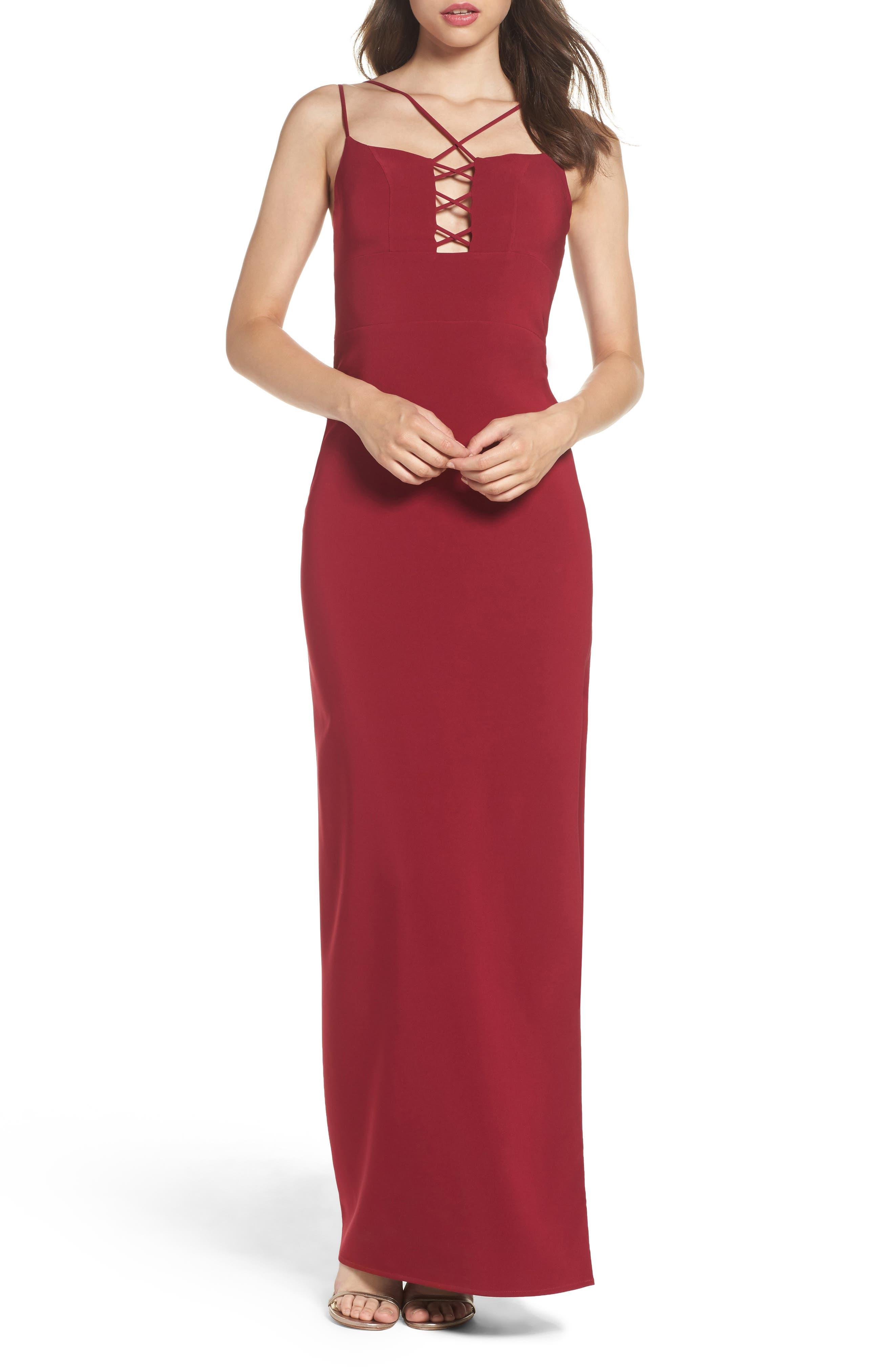 Starlett Gown,                             Main thumbnail 1, color,                             Wine