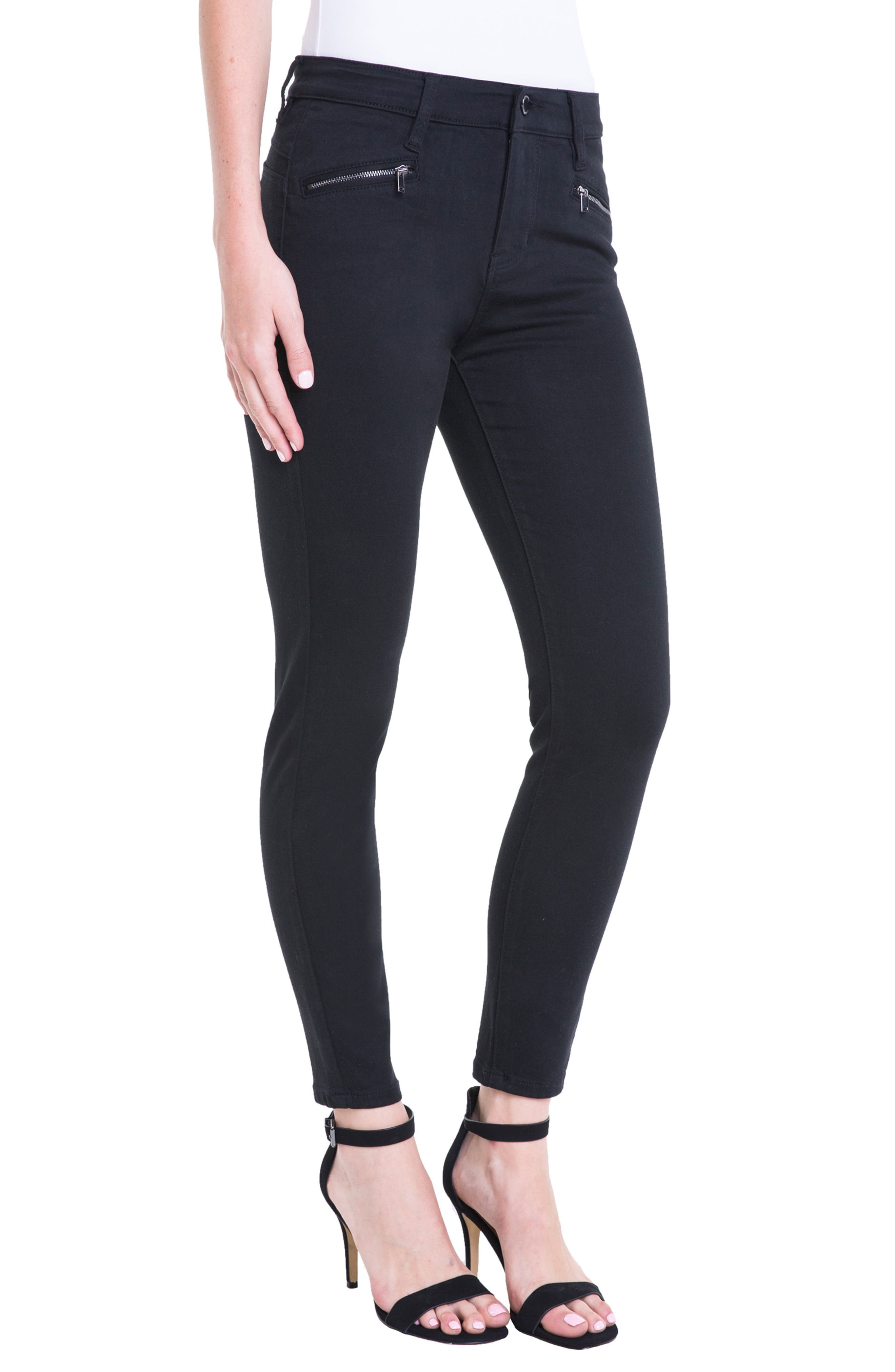 Remy Zipper Stretch Skinny Jeans,                             Alternate thumbnail 4, color,                             Black Rinse