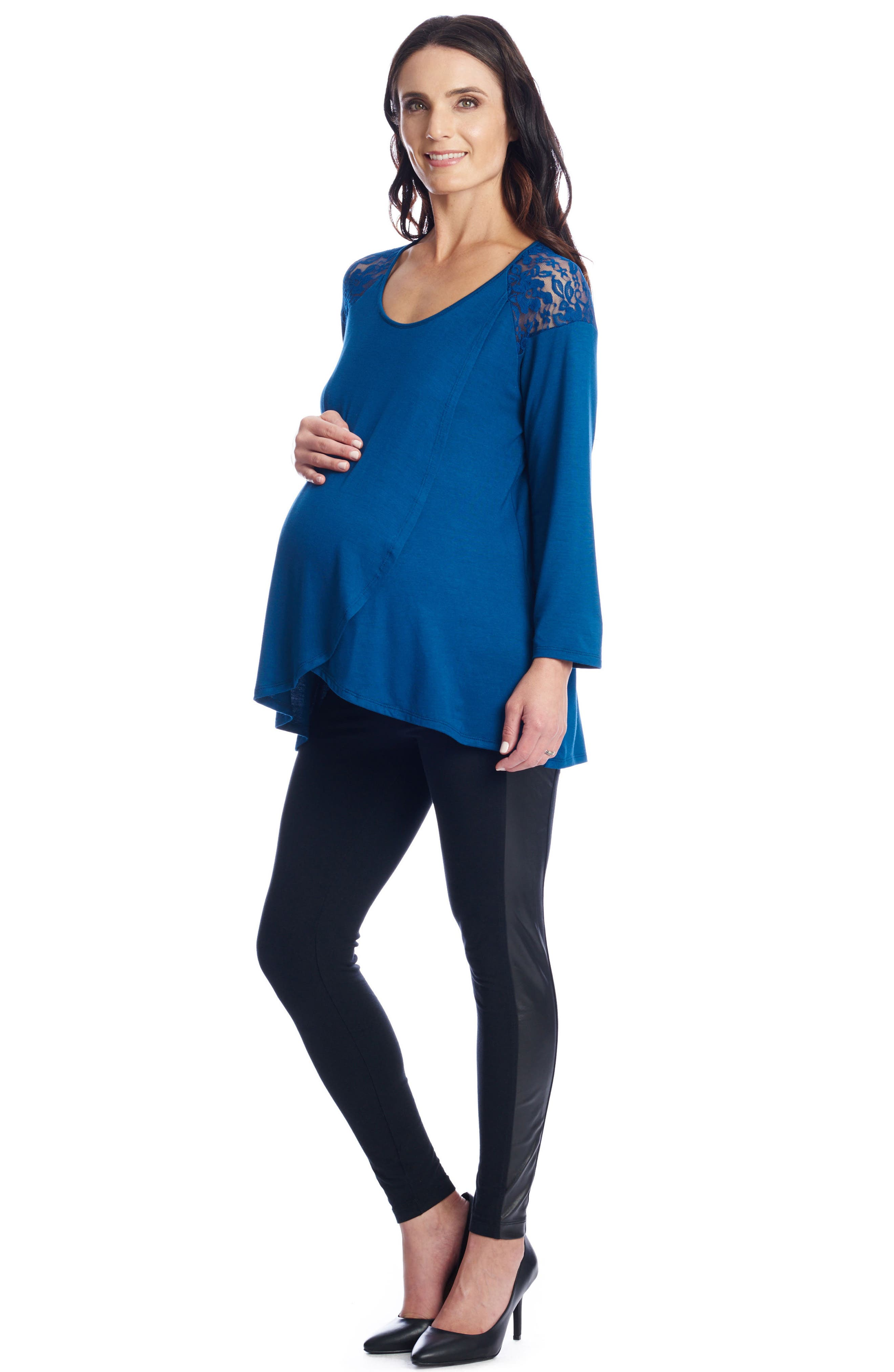Alternate Image 5  - Everly Grey Aaliyah Wrap Front Maternity/Nursing Top