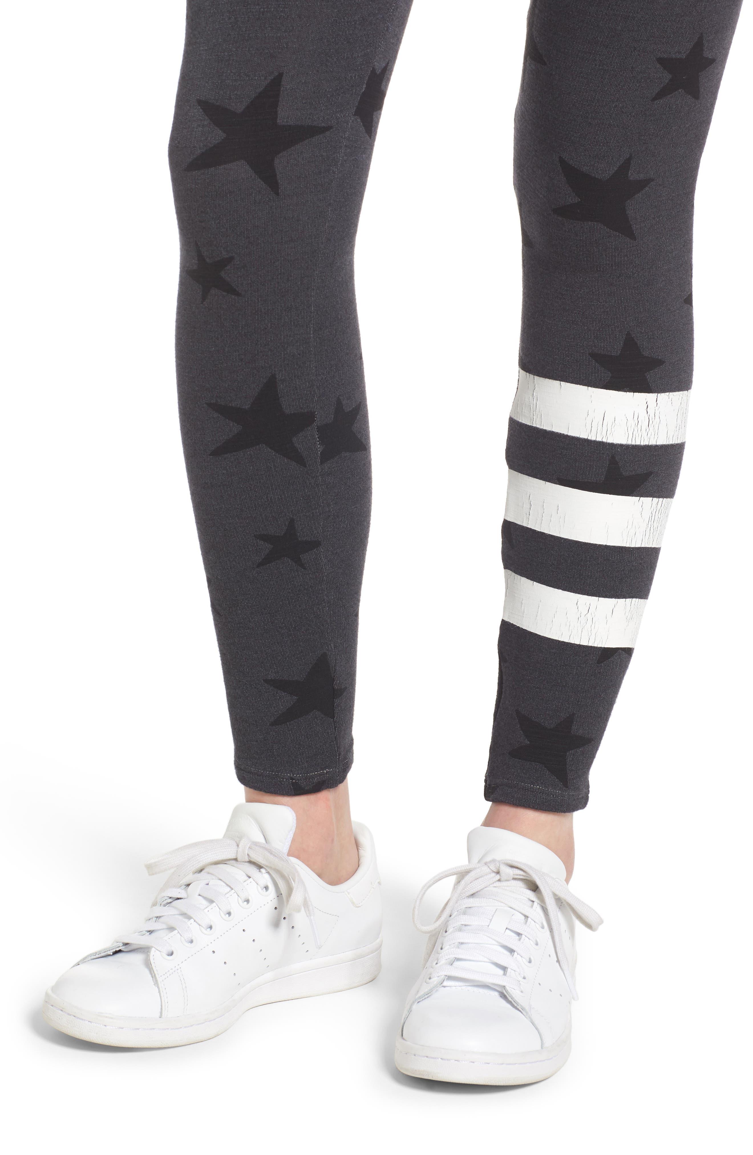 Stripe Star Leggings,                             Alternate thumbnail 4, color,                             Soft Black