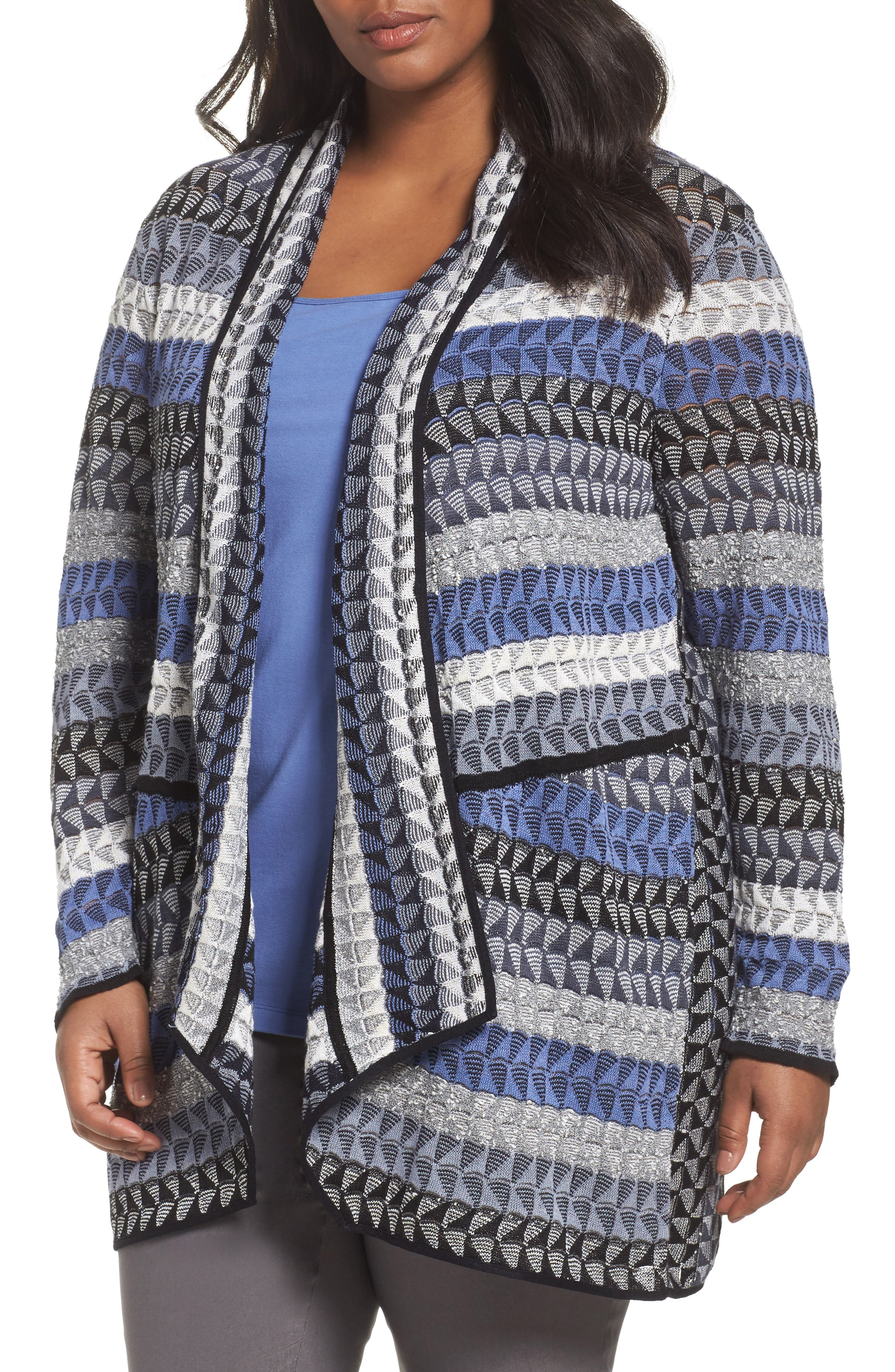 Alternate Image 1 Selected - NIC+ZOE Triangle Bliss Cardigan (Plus Size)