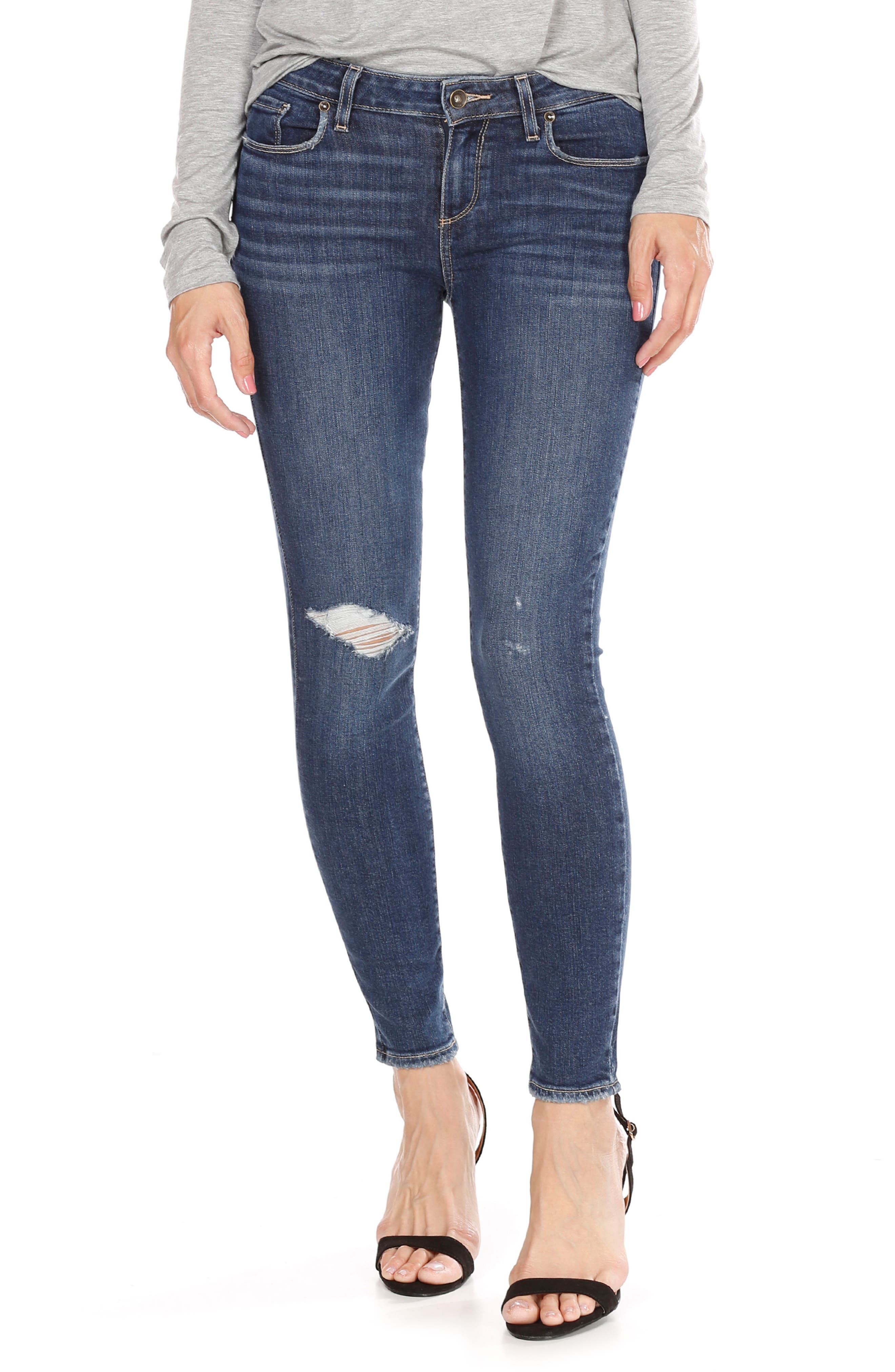 PAIGE Verdugo Ripped Ankle Skinny Jeans (Addax Destructed)