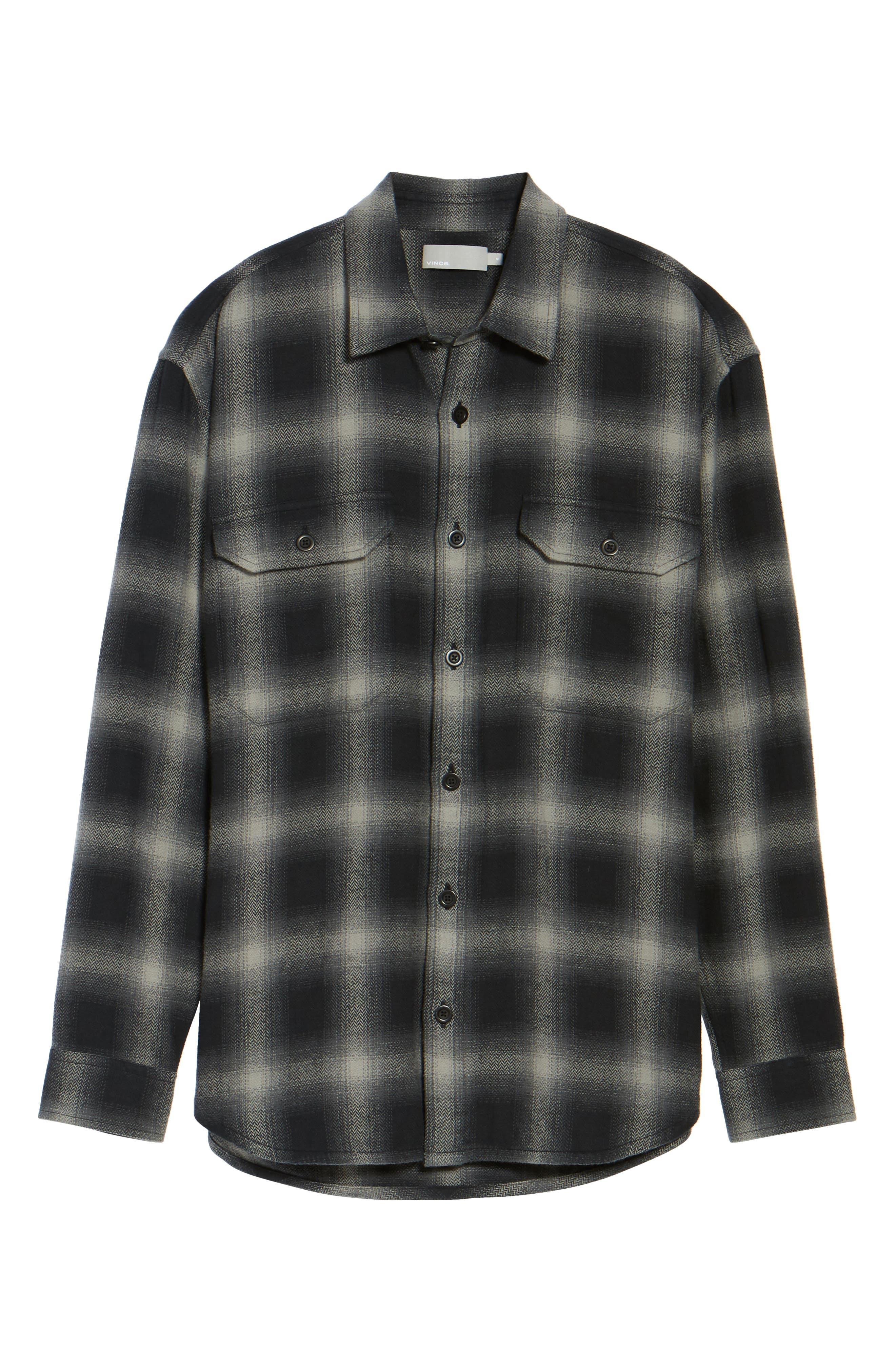 Ombré Buffalo Plaid Sport Shirt,                             Alternate thumbnail 5, color,                             Grey